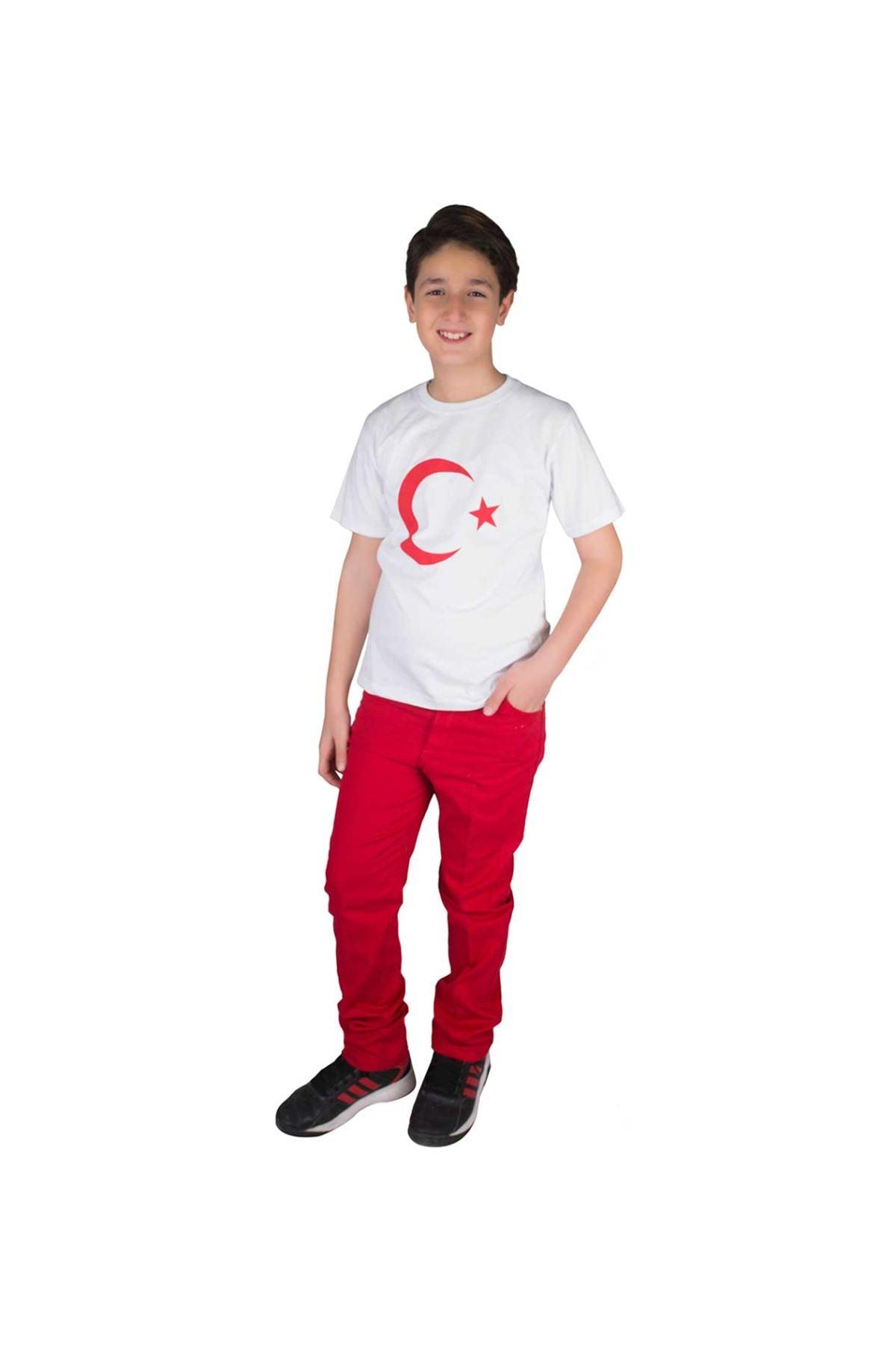 Beyaz Kısa Kollu Bayrak Baskılı Tişört
