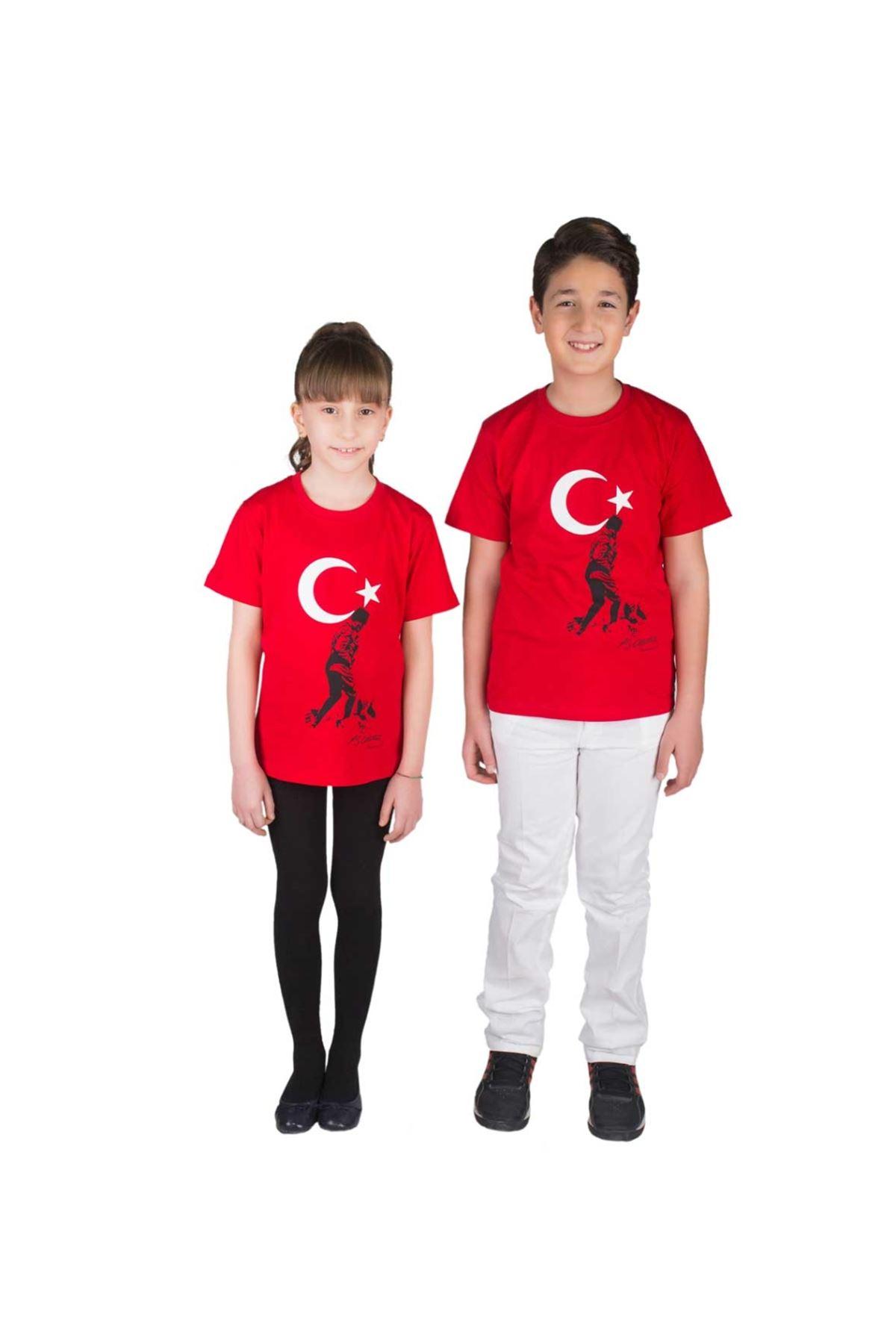 Kırmızı Bayrak ve Atatürk  Baskılı Tişört