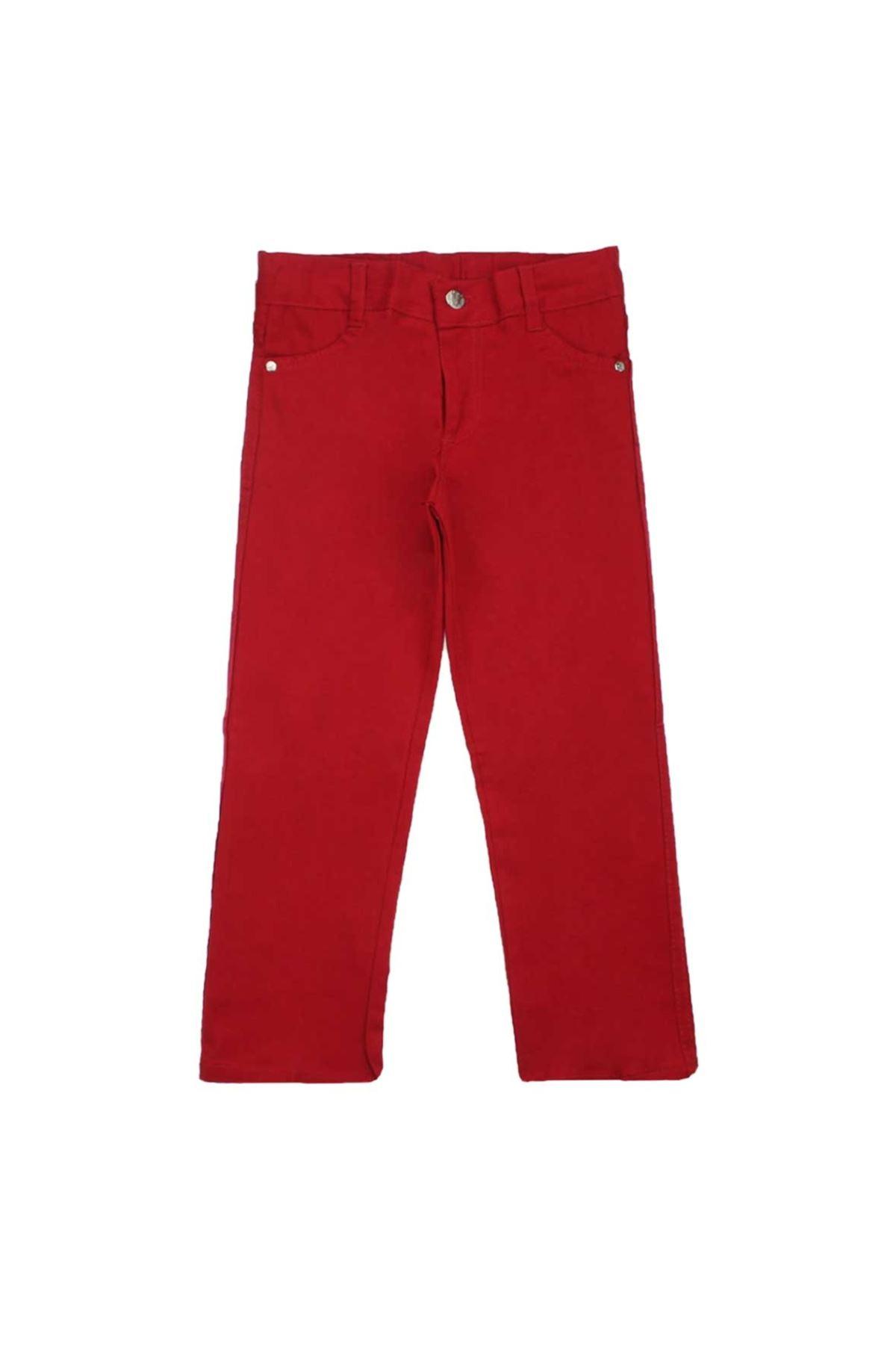 Kırmızı Erkek Çocuk  Keten Pantalon