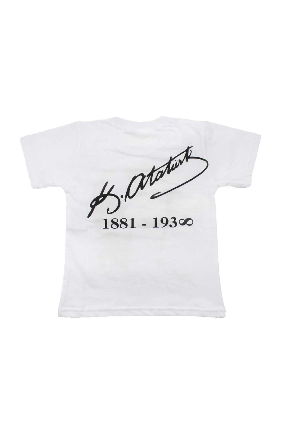 Beyaz Çift Taraf Atatürk Baskılı S-M-L-XL  Pamuklu Tişört
