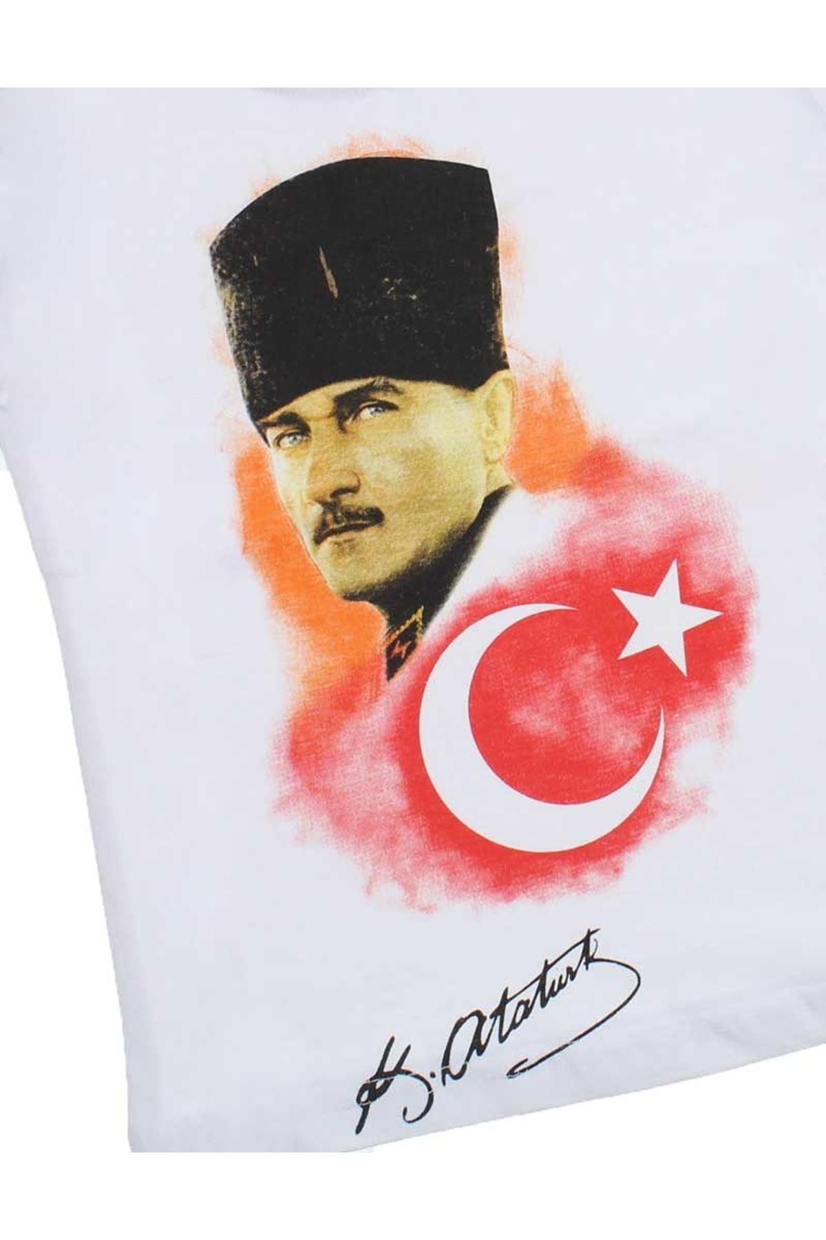 Beyaz Atatürk Bayrak Baskılı S-M-L-XL Tişört