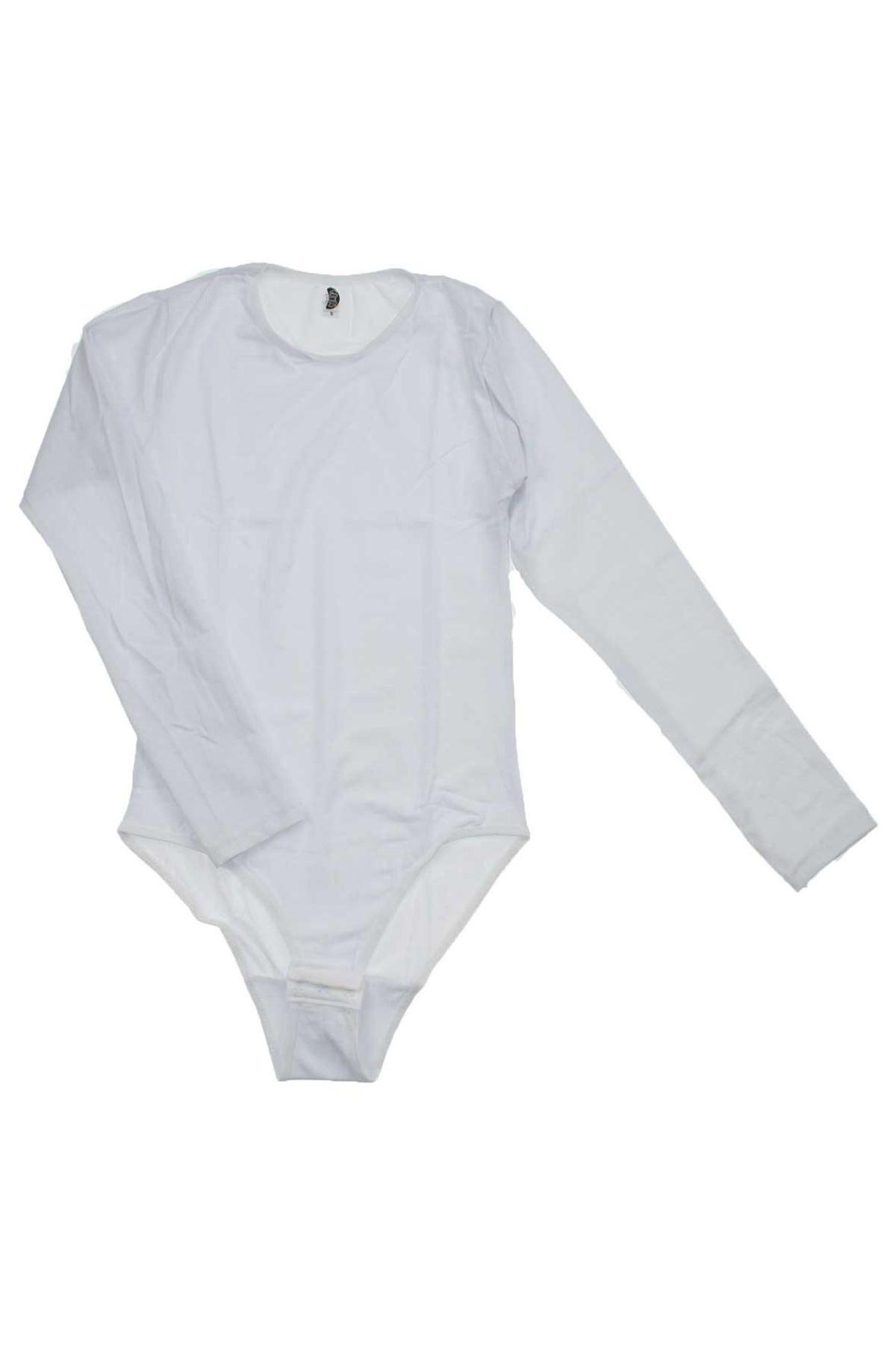 Gümüş İç Giyim Bayan UzunKol Beyaz Çıtçıtlı Bady