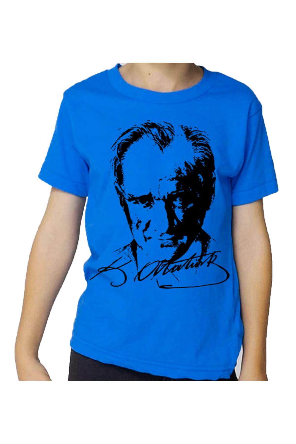 Mavi Atatürk Baskılı Pamuklu Tişört