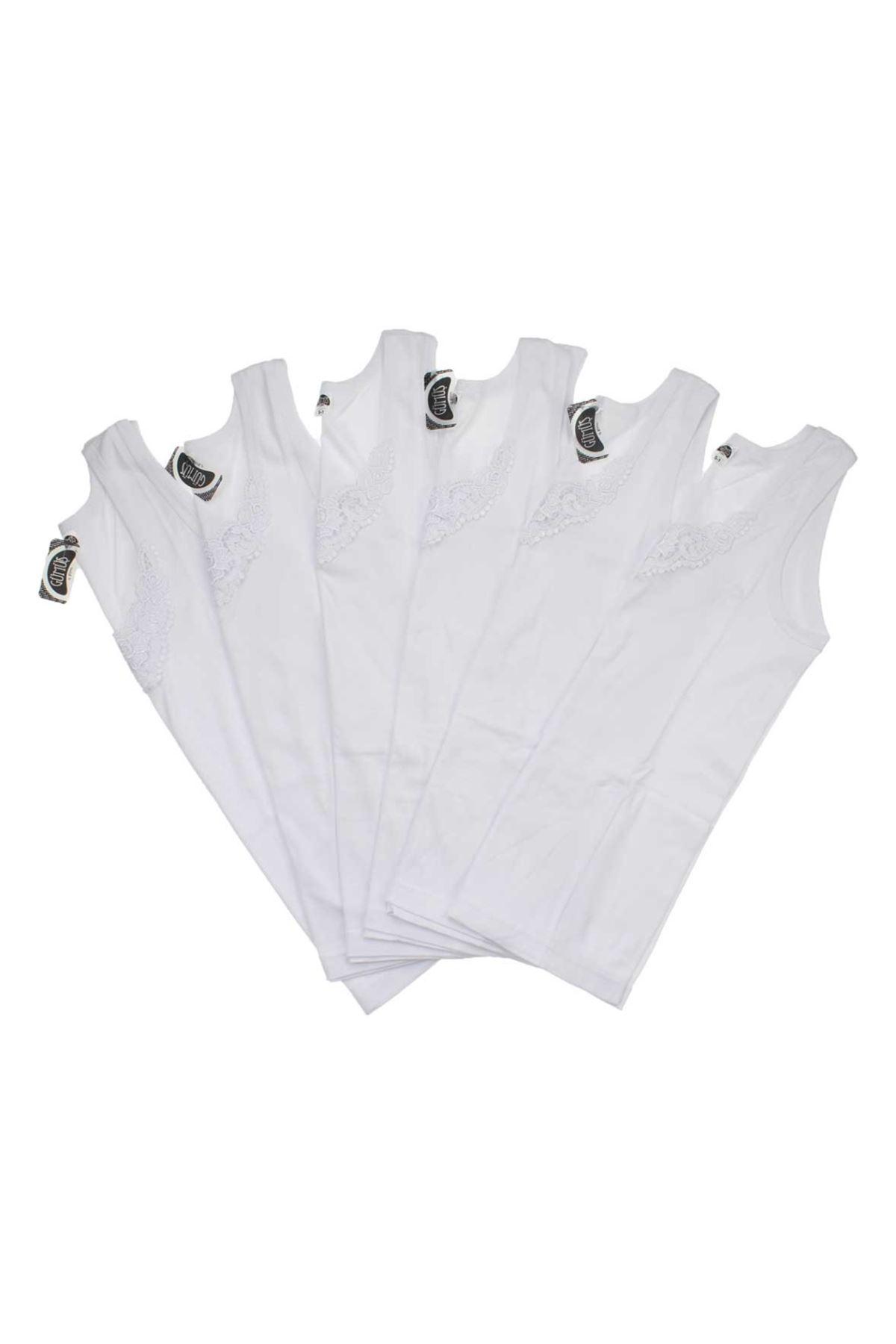 Gümüş İç Giyim Bayan Gübürlü 6 lı Beyaz Atlet
