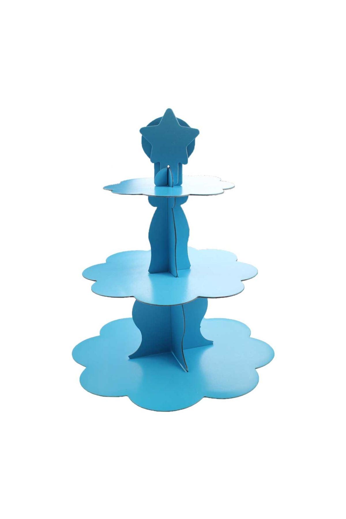 3 Katlı Mavi Cupcake Standı
