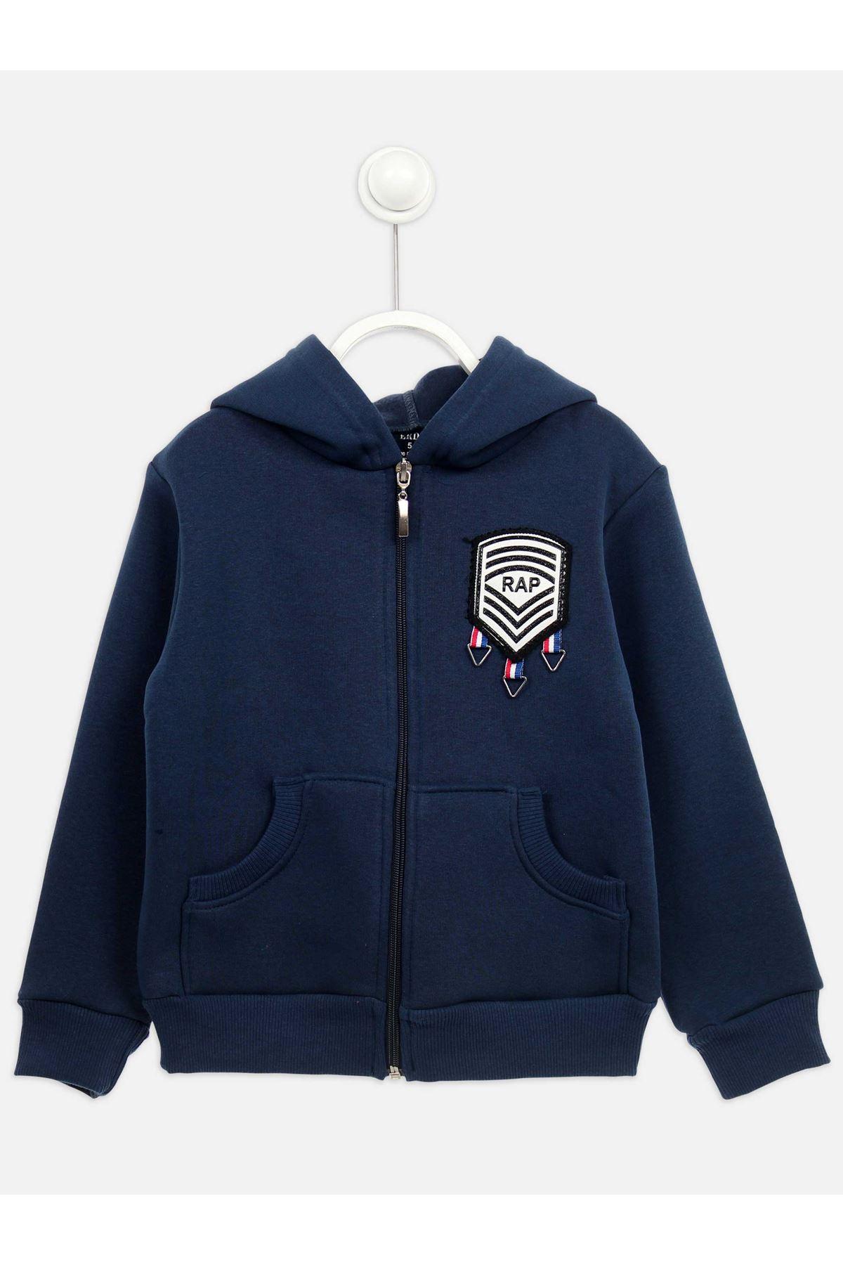 Lacivert Kışlık Kapüşonlu Erkek Çocuk Ceket