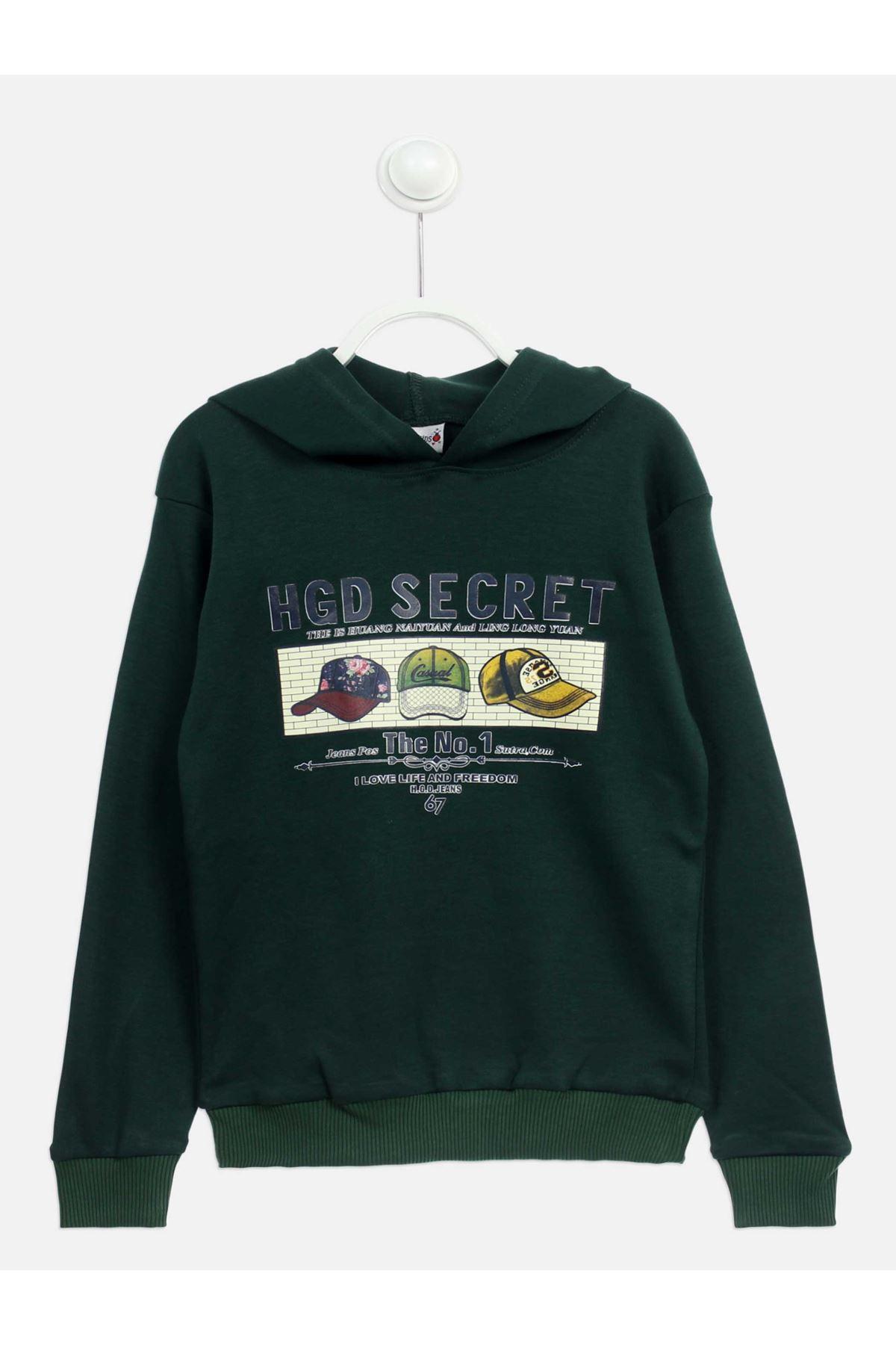 Green Seasonal Hooded Boy's Sweatshirt