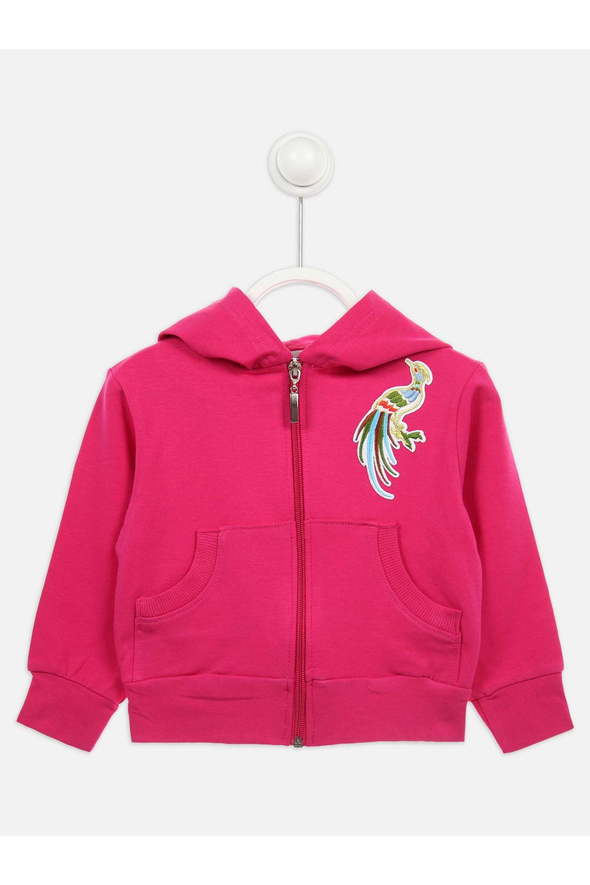 Fuşya Mevsimlik Kapüşonlu Kız Çocuk Ceket