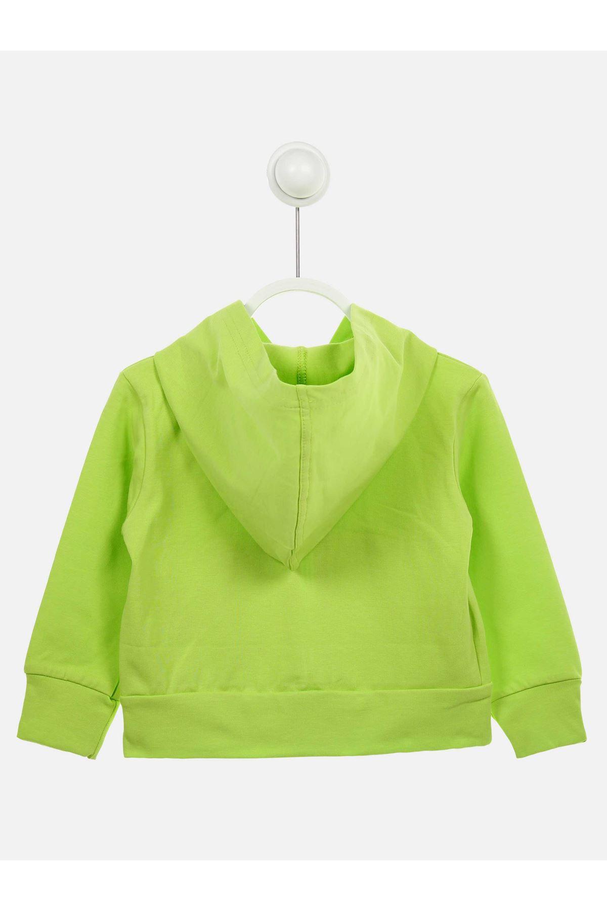 Yeşil Mevsimlik Kapüşonlu Kız Çocuk Ceket