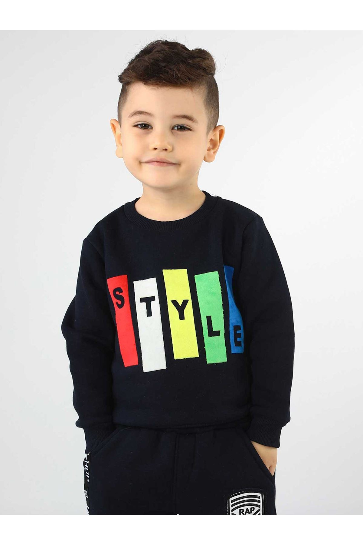 Navy Blue Winter Male Child Sweatshirt