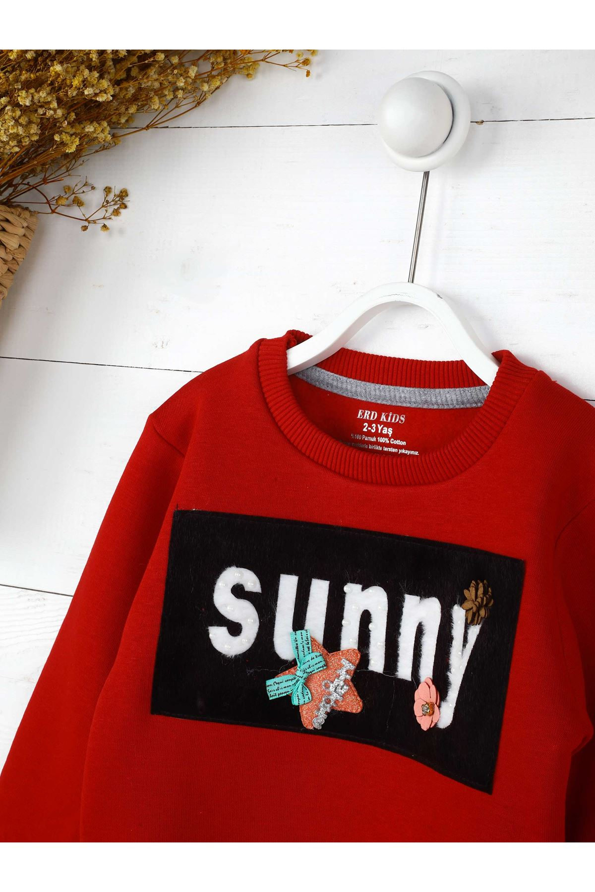 Kırmızı Kışlık Kış Çocuk Sweatshirt