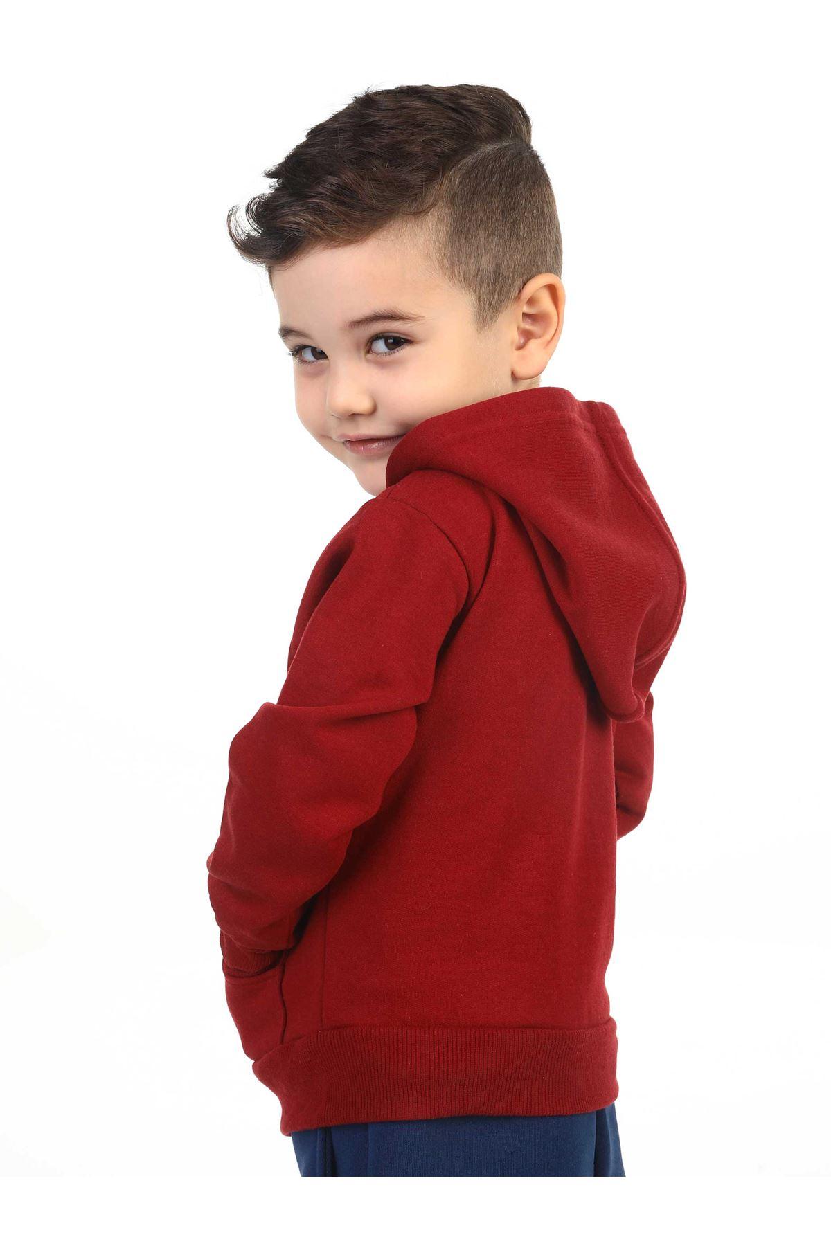 Bordo Mevsimlik Kapüşonlu Erkek Çocuk Ceket