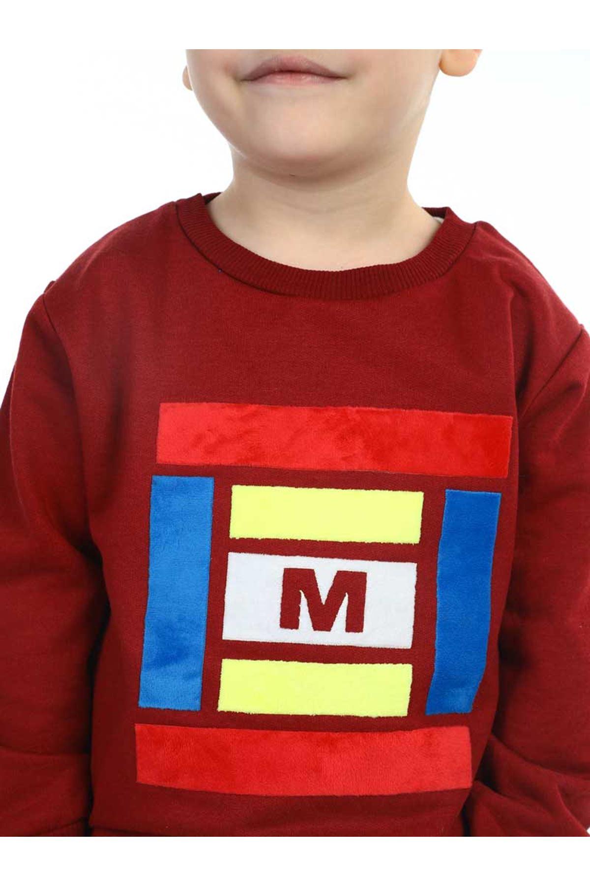 Bordo Mevsimlik Erkek Çocuk Sweatshirt