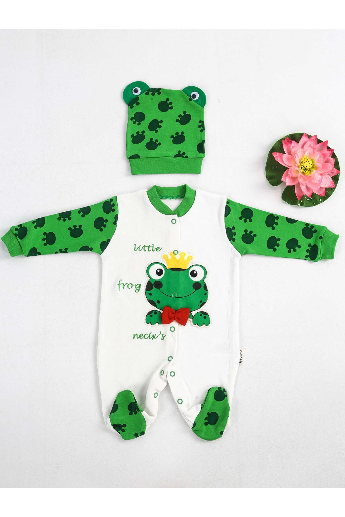 Green And White Baby Overalls With Hat