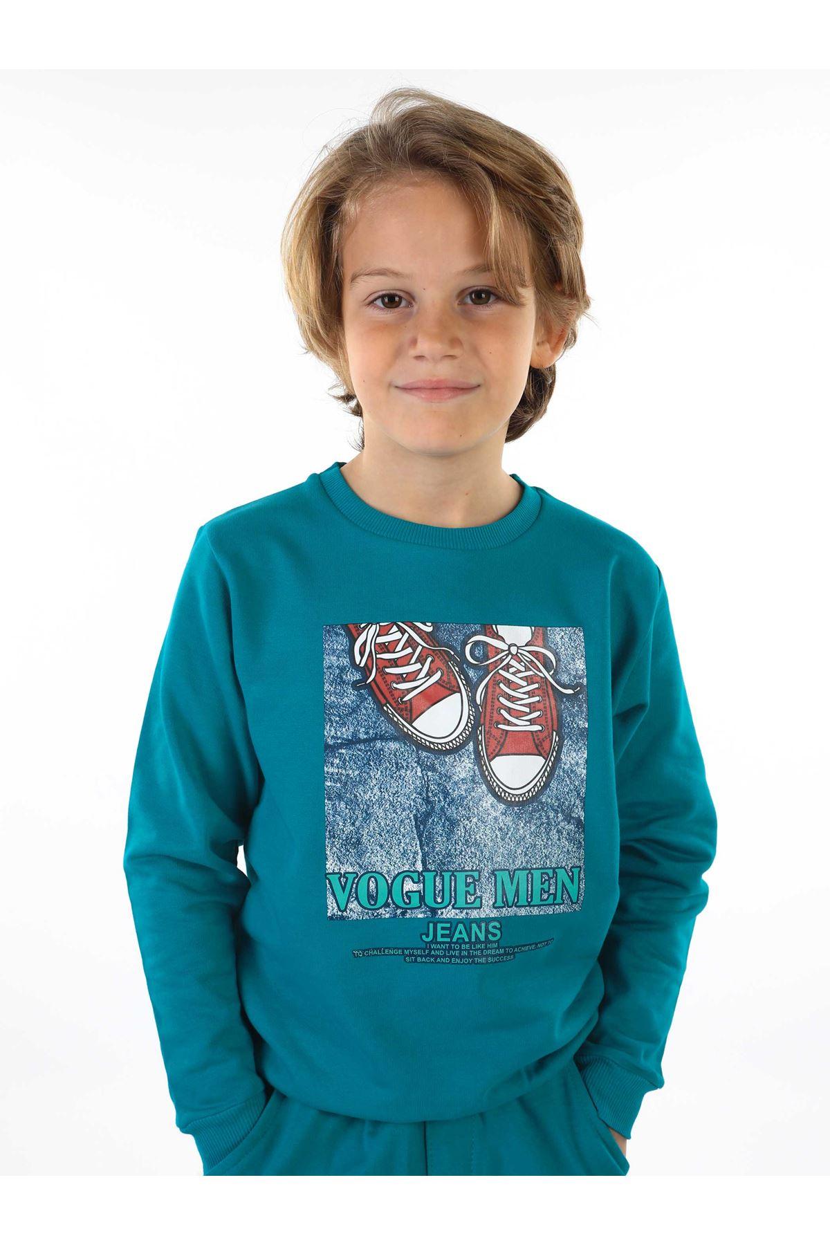 Petrol Yeşili Mevsimlik Erkek Çocuk Sweatshirt