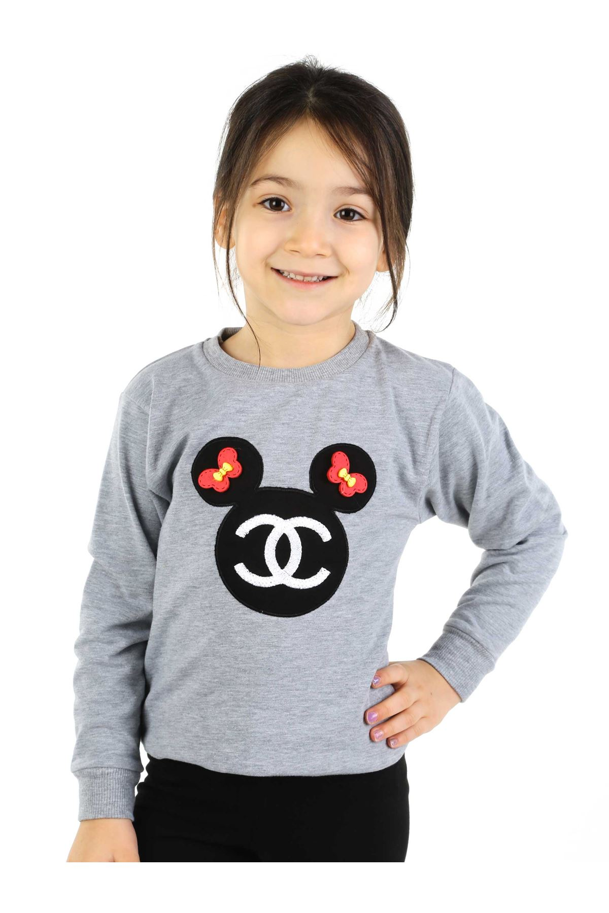 Gri Siyah 2 li Kız Çocuk Taytlı Takım
