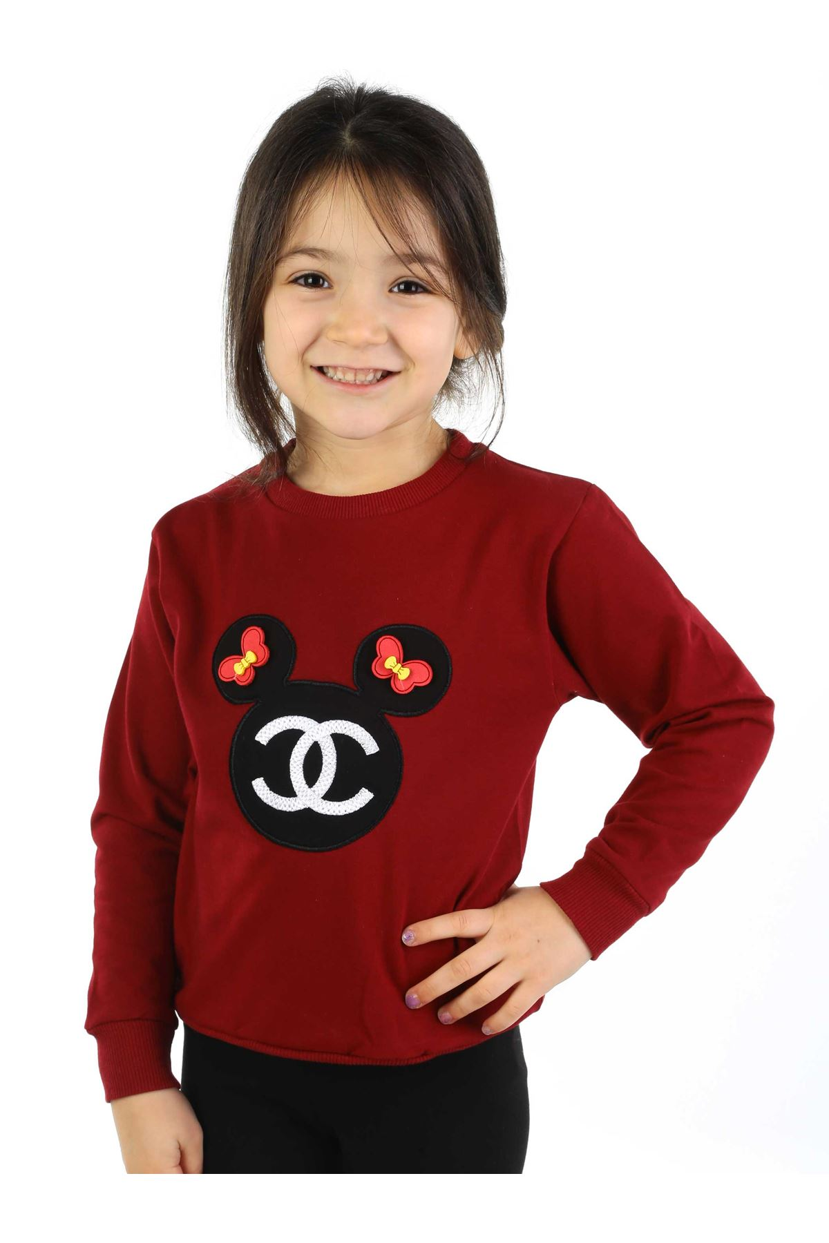 Bordo Siyah 2 li Kız Çocuk Taytlı Takım