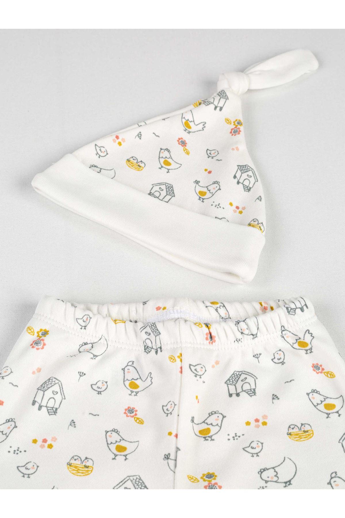 Cream Pattern Girl Baby Hat With footie Bottom