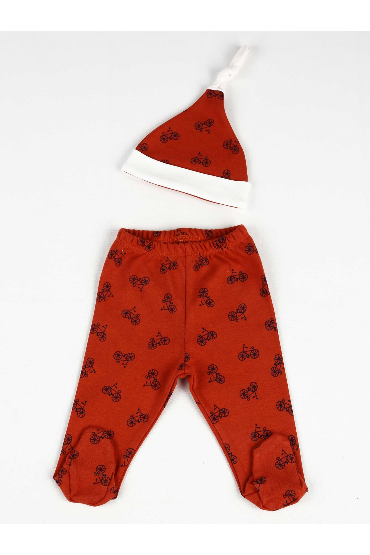 Red Patterned Baby Boy Hat and Footed Bottom
