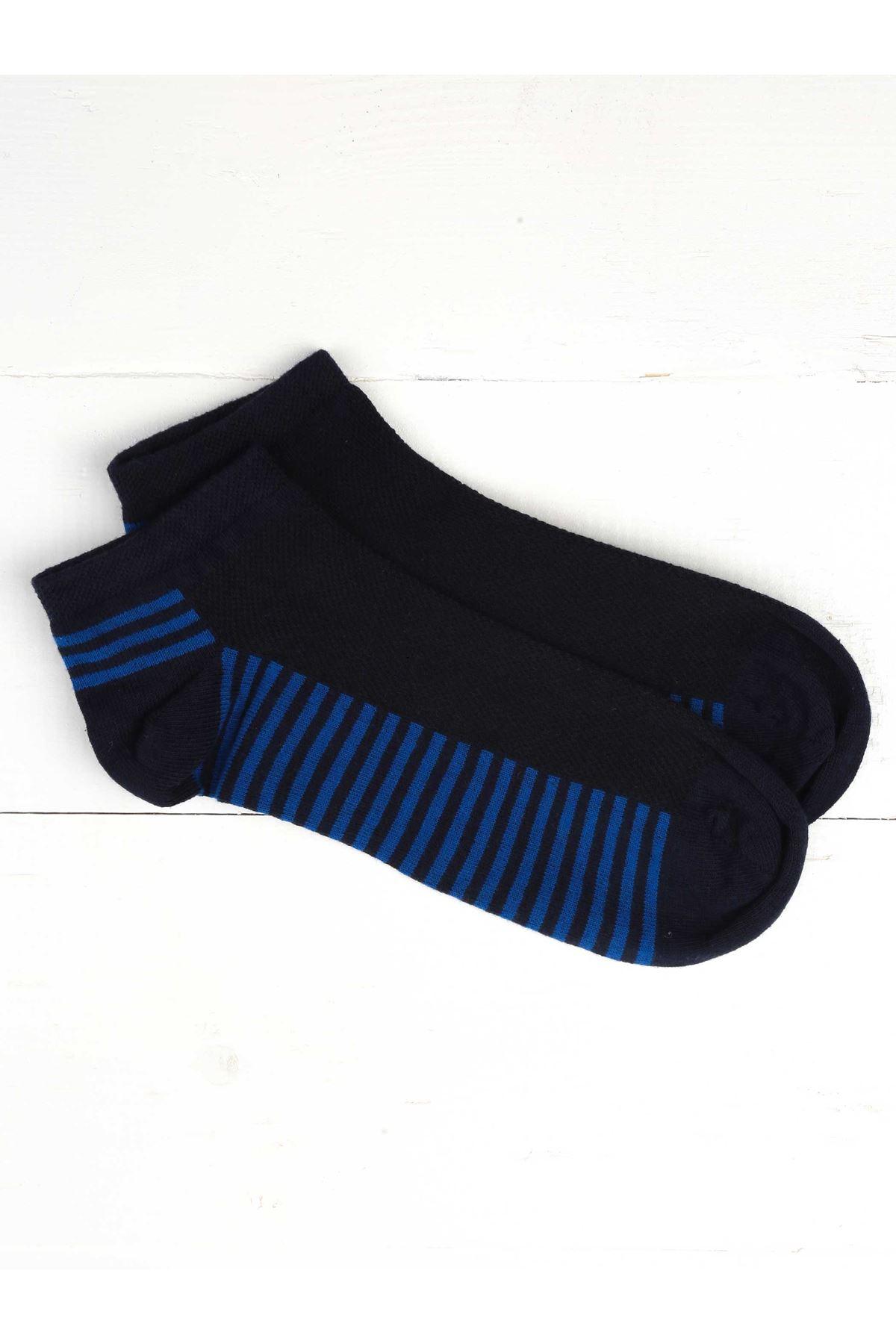 Navy Sax Striped Perfumed Men's Booties Socks