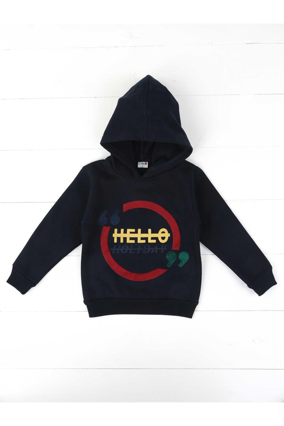 Navy Blue Hooded Seasonal Male Child Sweatshirt