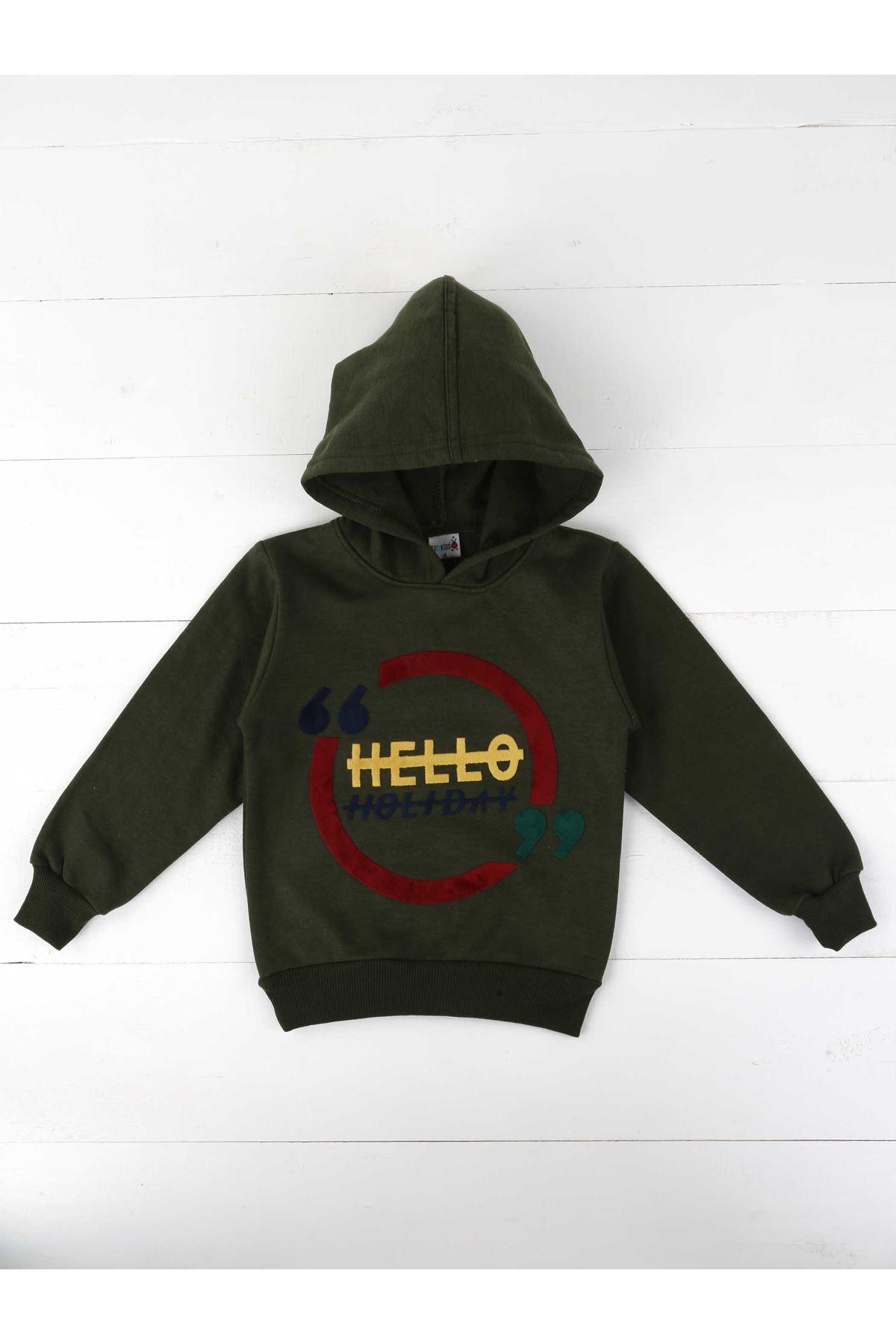 Khaki Seasonal Hooded Male Child Sweatshirt