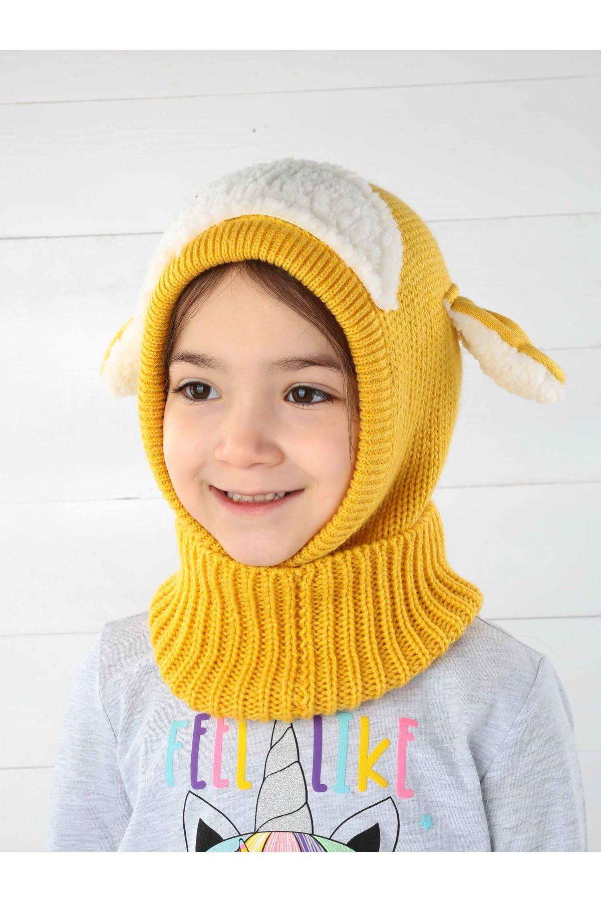 Sarı Kuzucuk Çocuk Örme Yün Atkı Bere