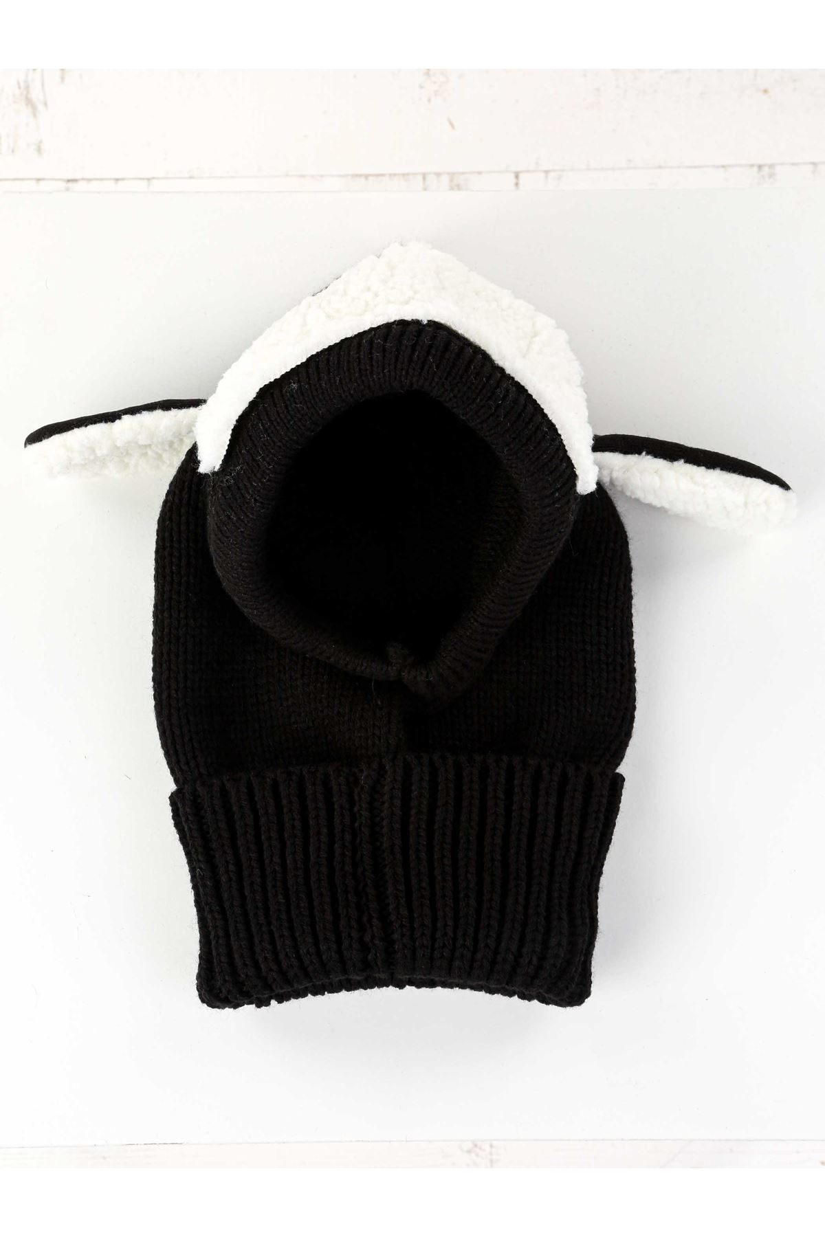 Black Lamb Knitted Kid Beanie with Scarf