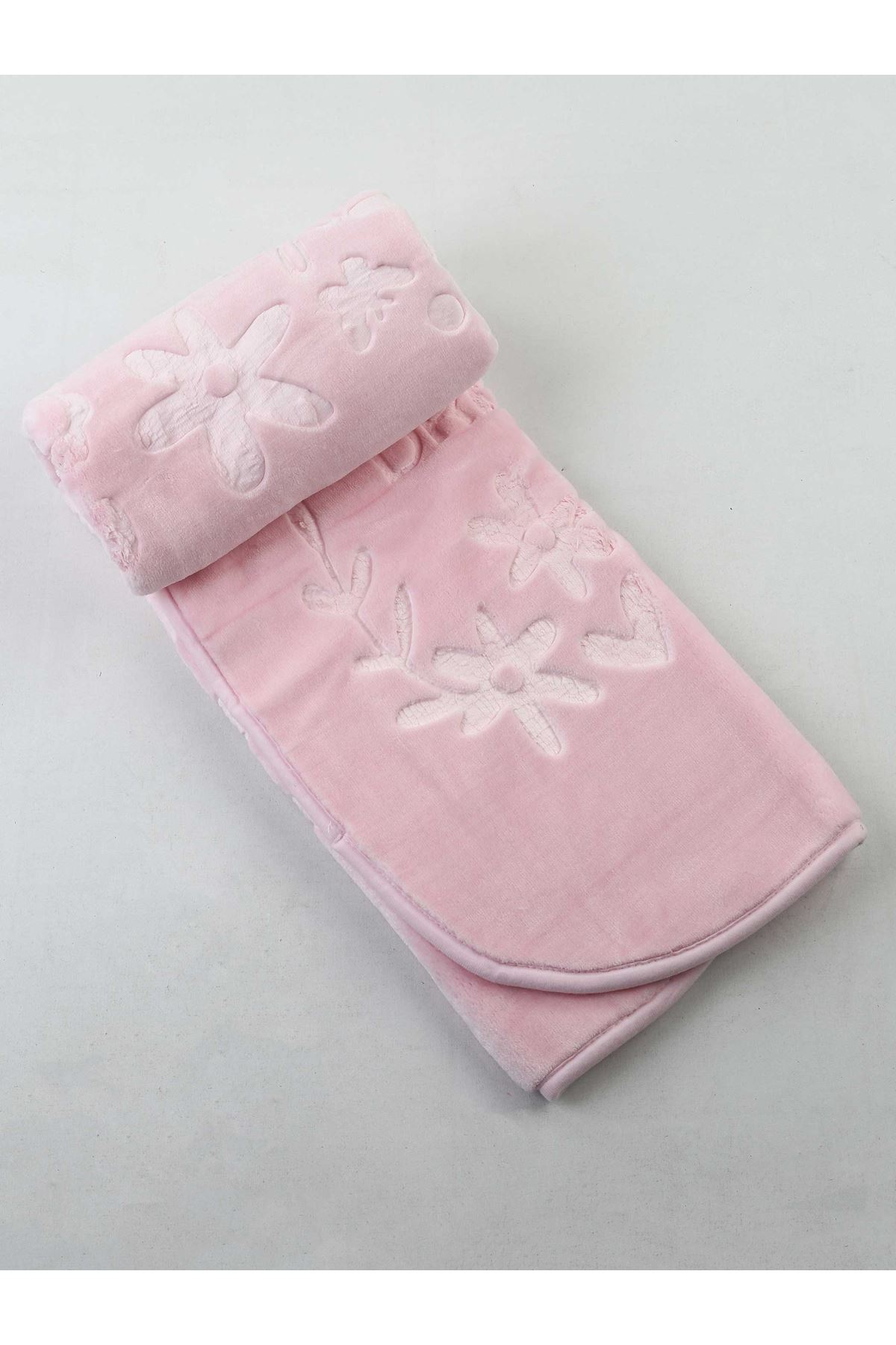Pembe Peluş 120x100 cm Kız Bebek Battaniye