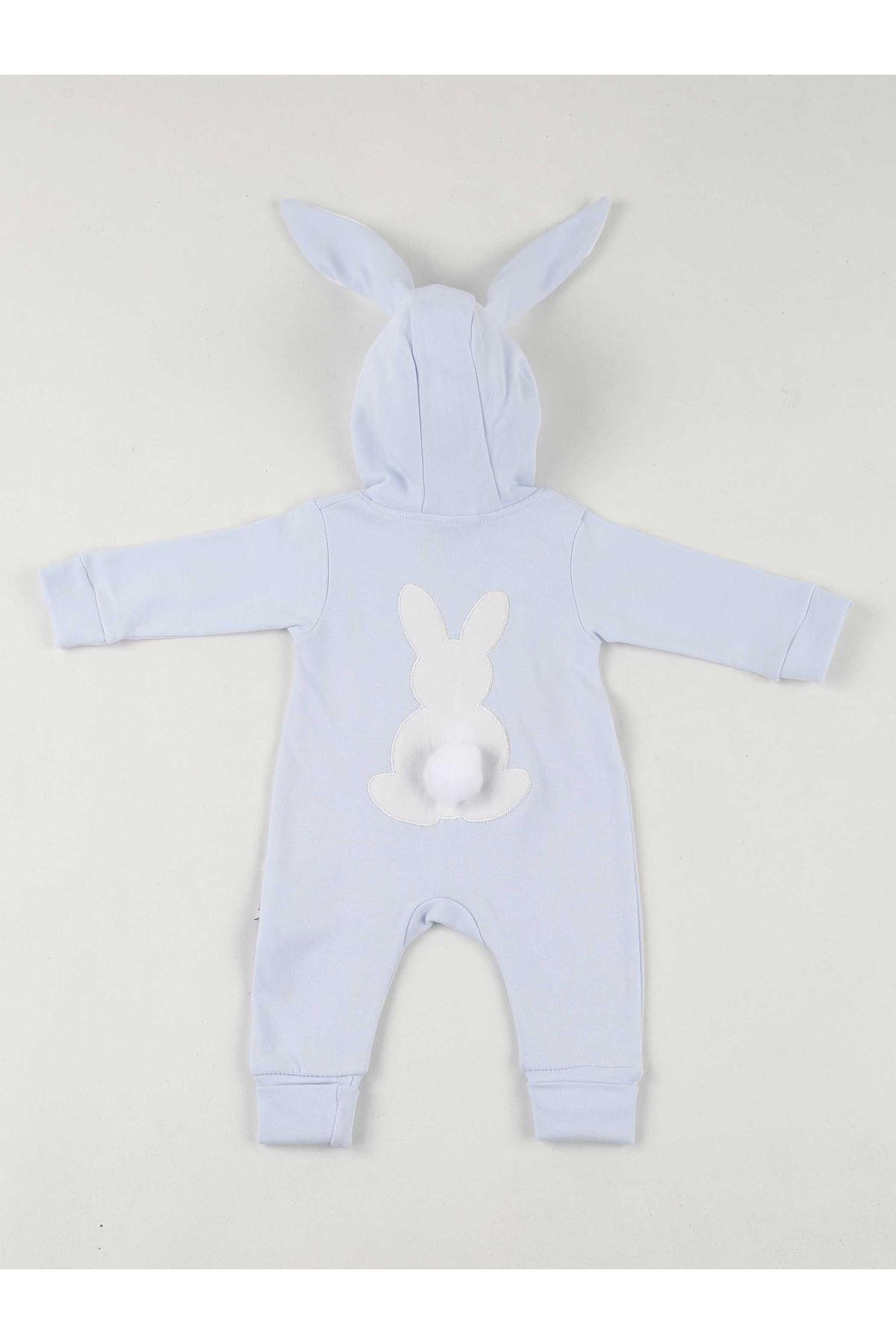 Blue Rabbit Ears Pompom Baby Jumpsuit
