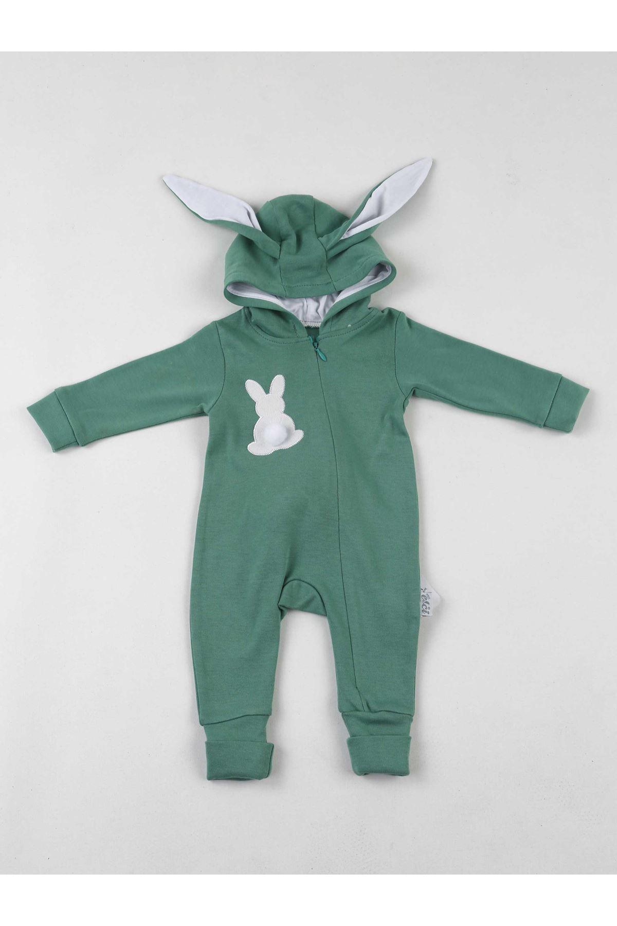 Yeşil Tavşan Kulaklı Ponponlu Bebek Tulum