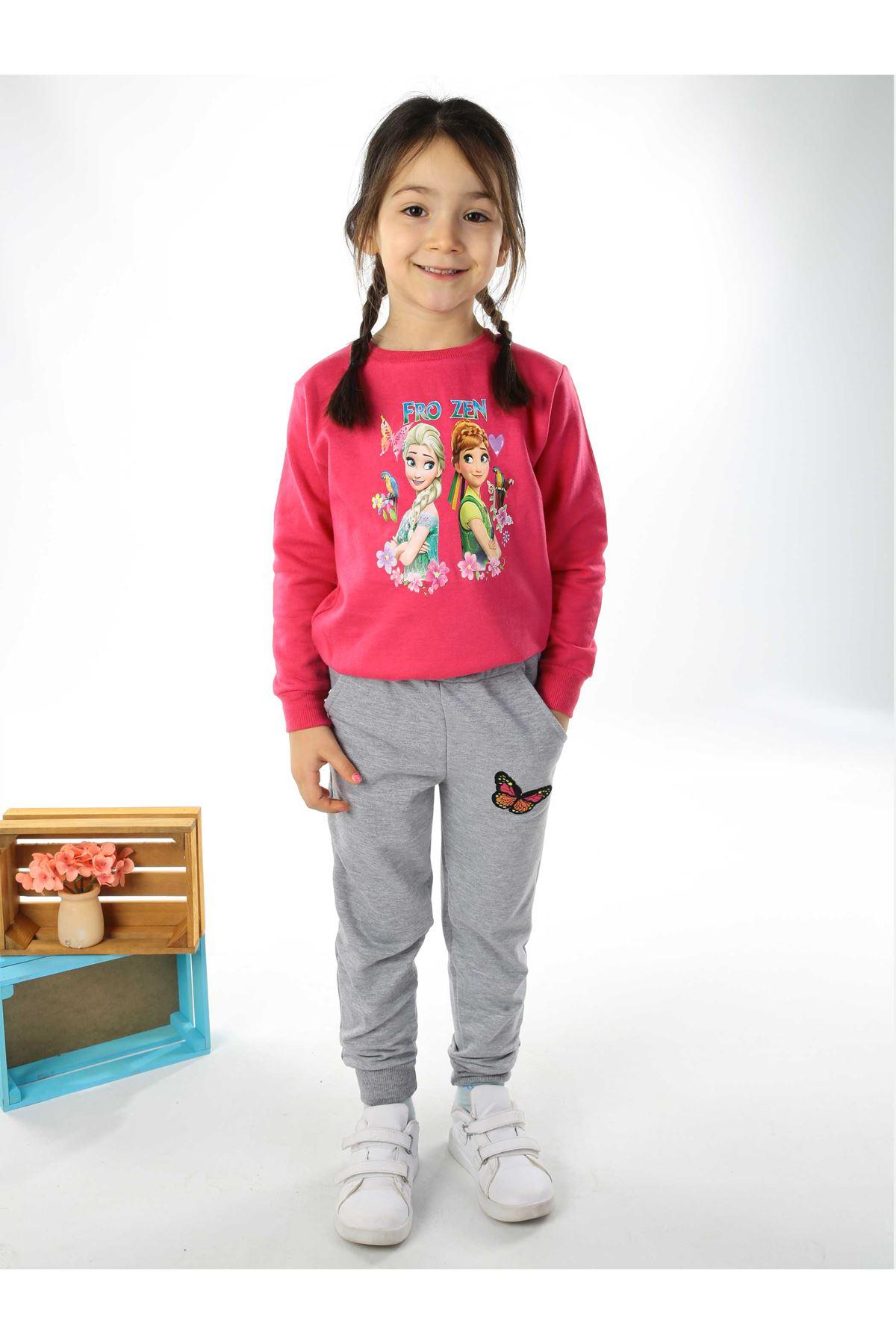 Fuchsia Gray Girl 2 Pieces Set