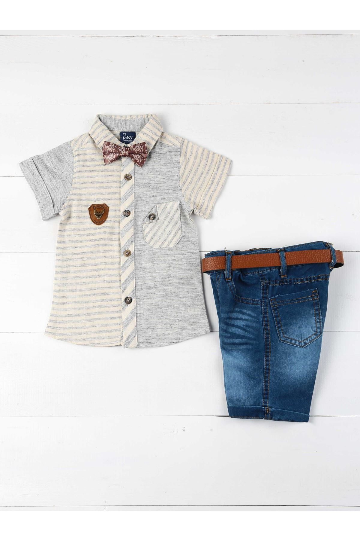 Gray Blue Summer Boy 4-piece Suit