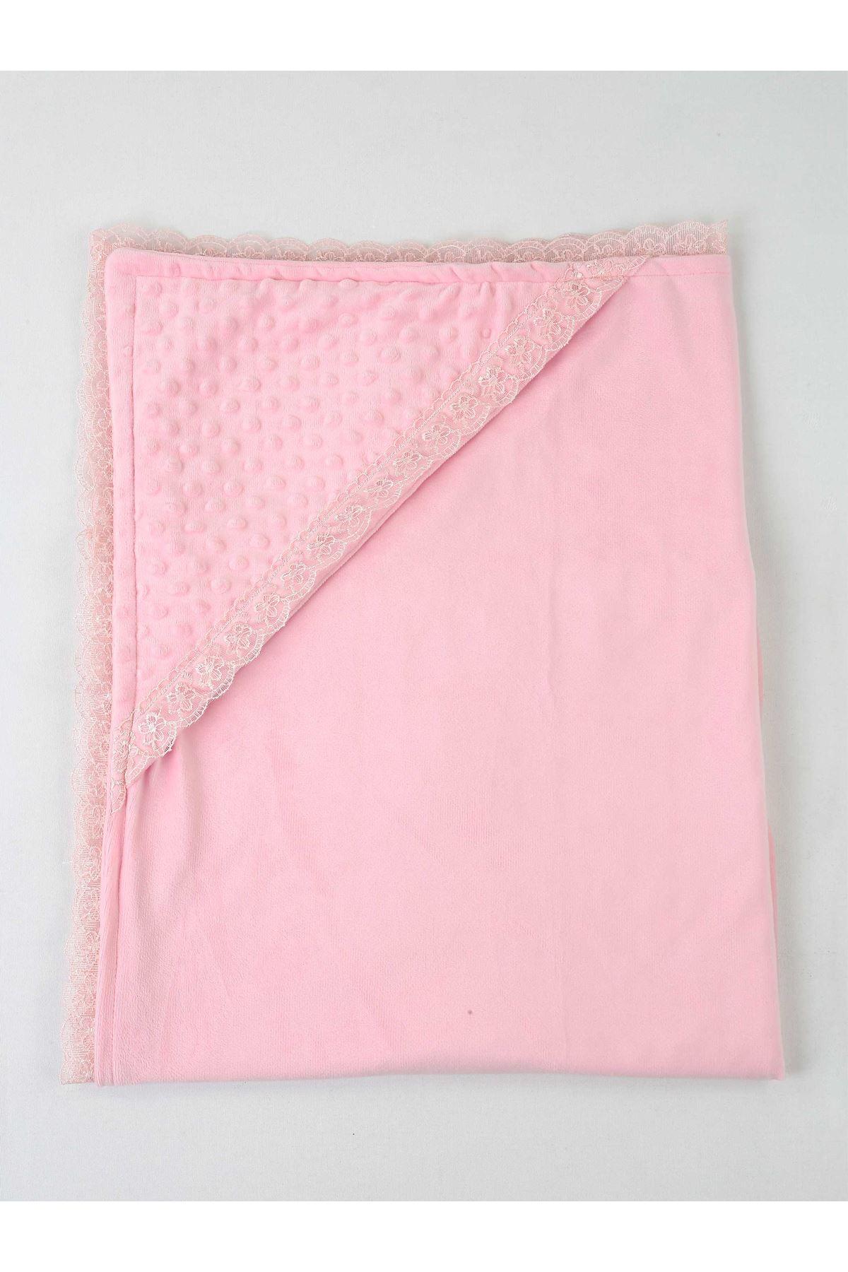 Pembe 85X85 cm Kız Bebek Kundak Battaniye
