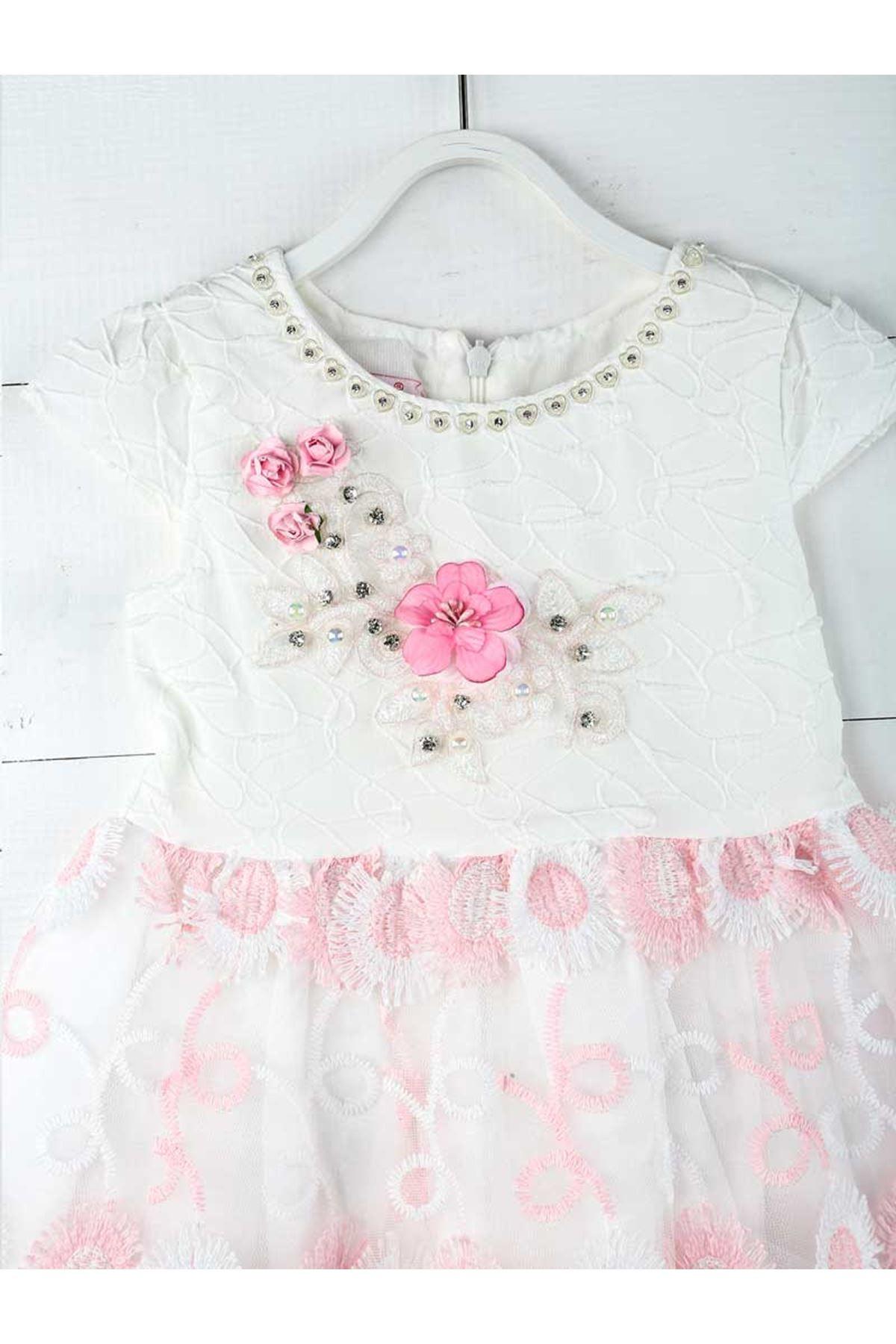Pembe Beyaz Kız Çocuk Abiye Elbise