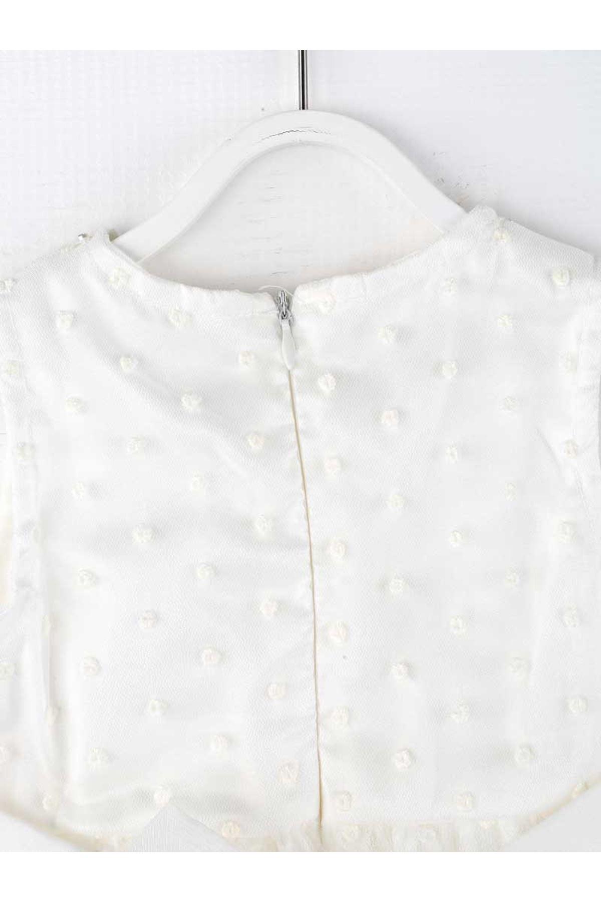 Beyaz Tüllü Çantalı Kız Çocuk Abiye Elbise