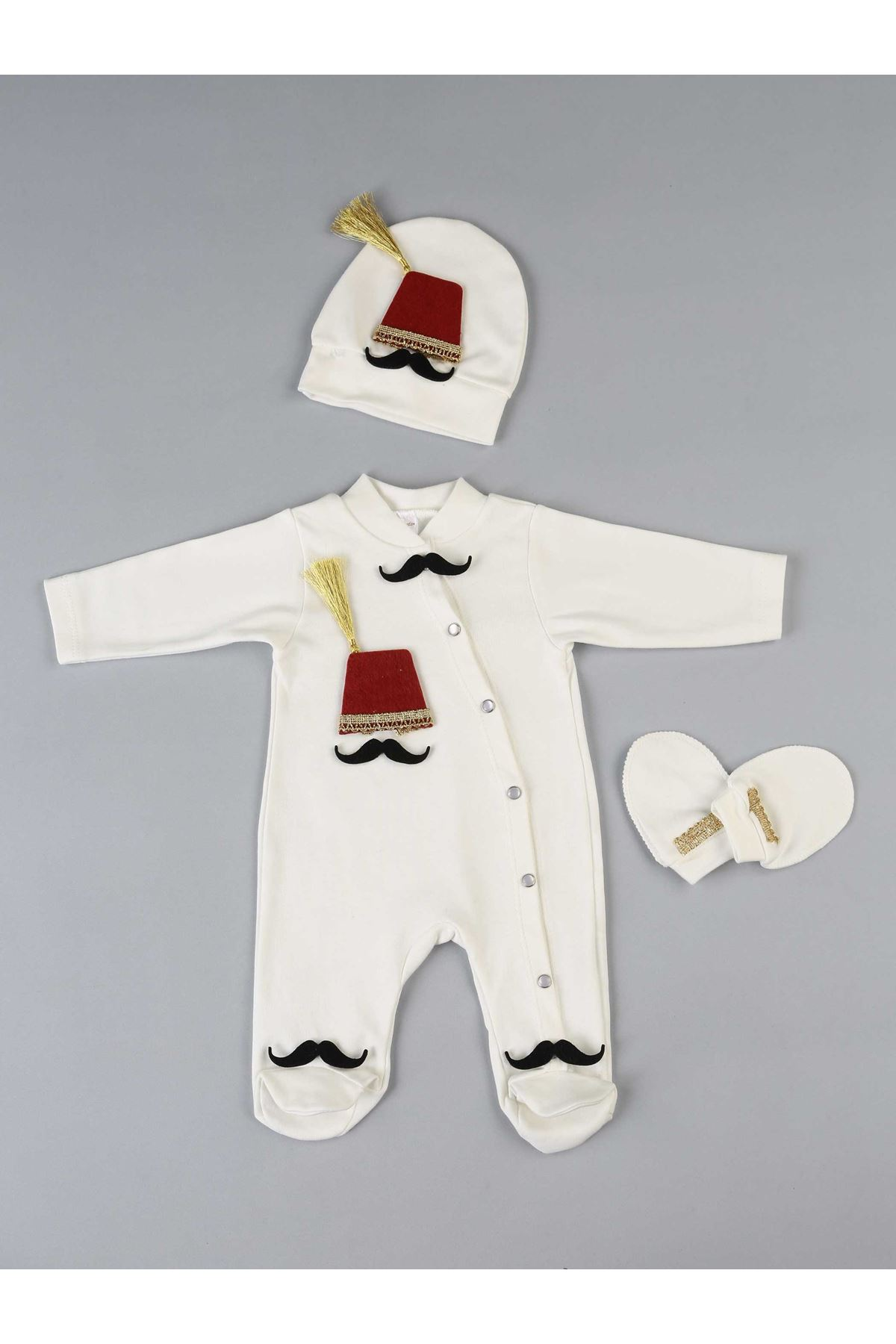 White Fez Baby Boy 3-piece Jumpsuit Set
