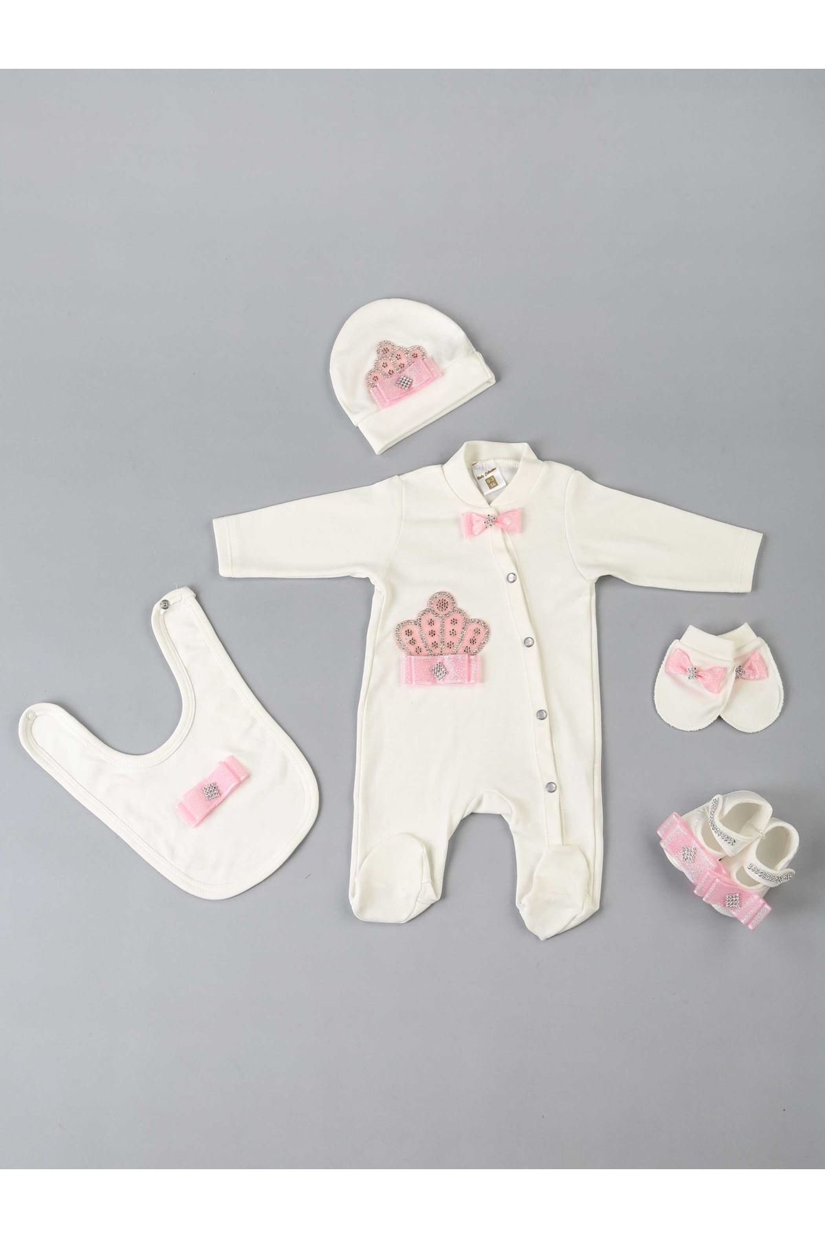 Pink Baby Girl Queen Crowned Hospital Out Jumpsuit 5 Piece Set Model Girls Infants Cute Newborn Rompers Models