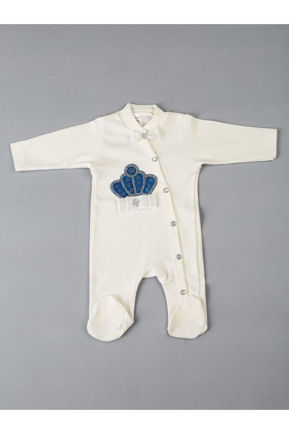 Navy blue King Crowned Male Baby 5 Piece Jumpsuit Set