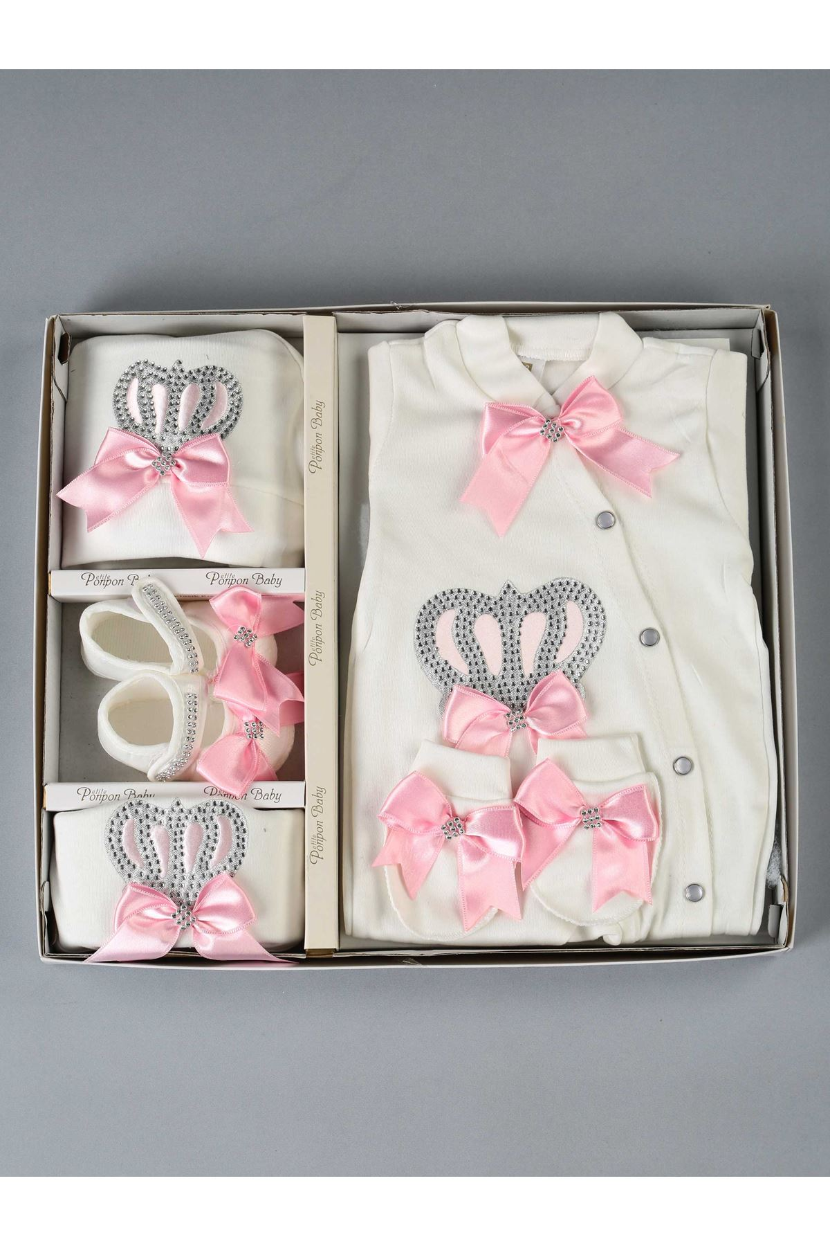 Pink Queen Crowned 5 Piece Baby Jumpsuit Set