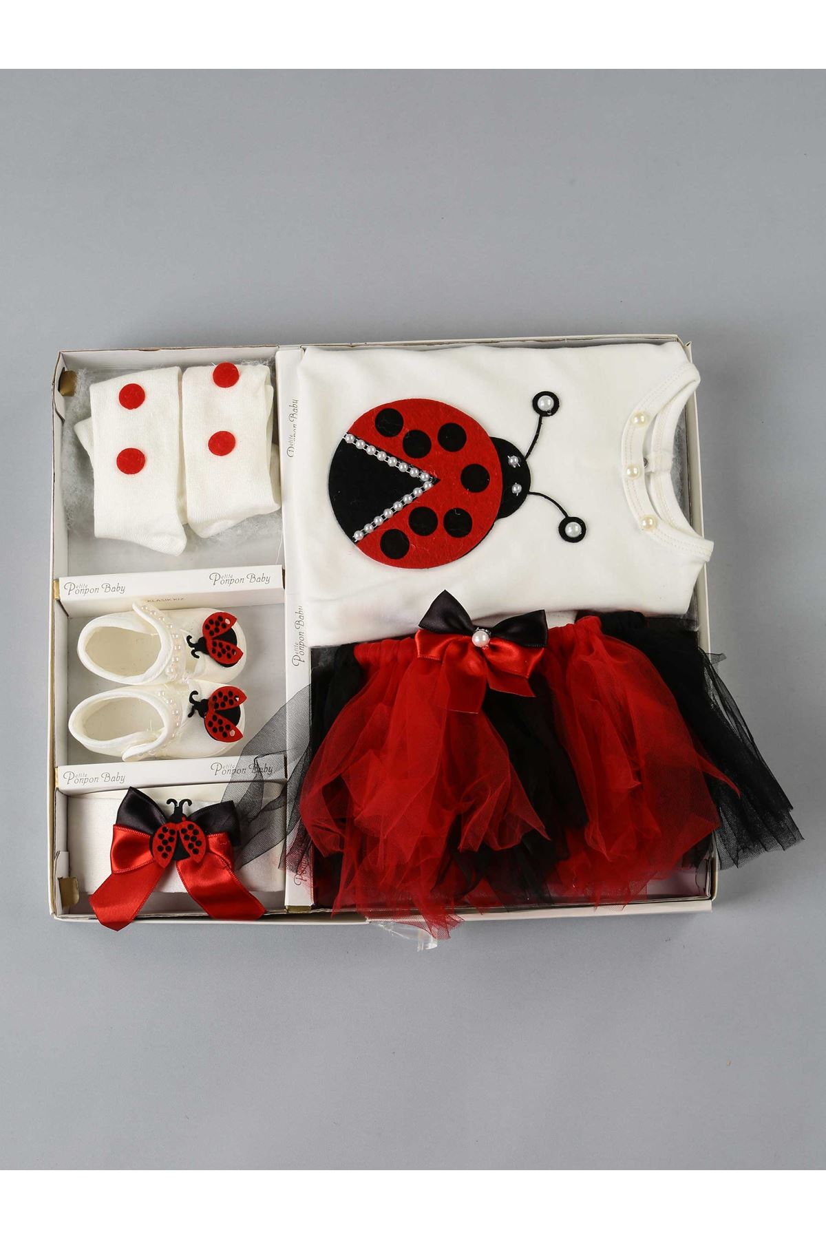 Red ladybug baby girl rompers suit hospital exit cute style girls babies models with tulle