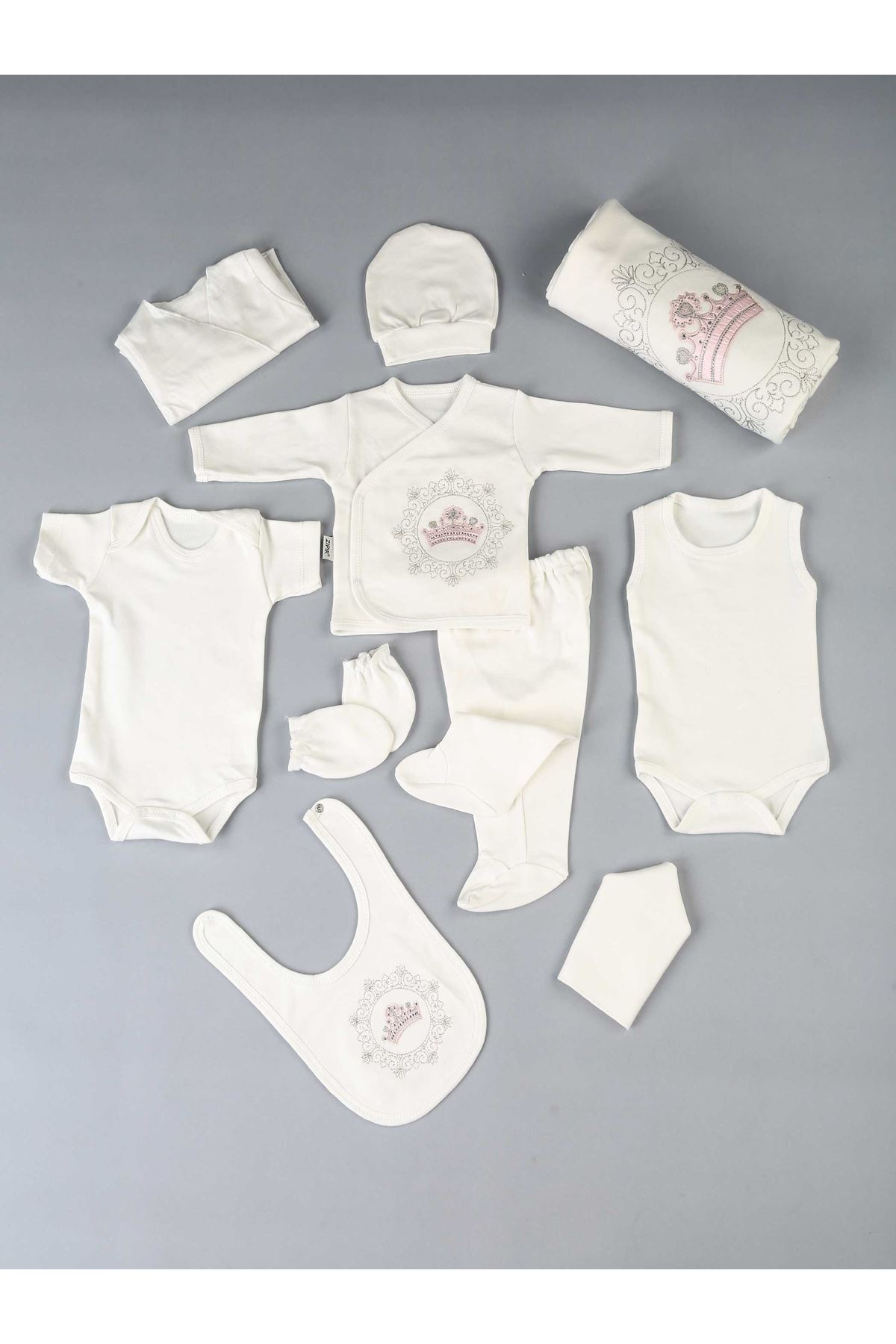 Pink Queen Crowned Newborn Girl Baby 10 Piece Hospital Output