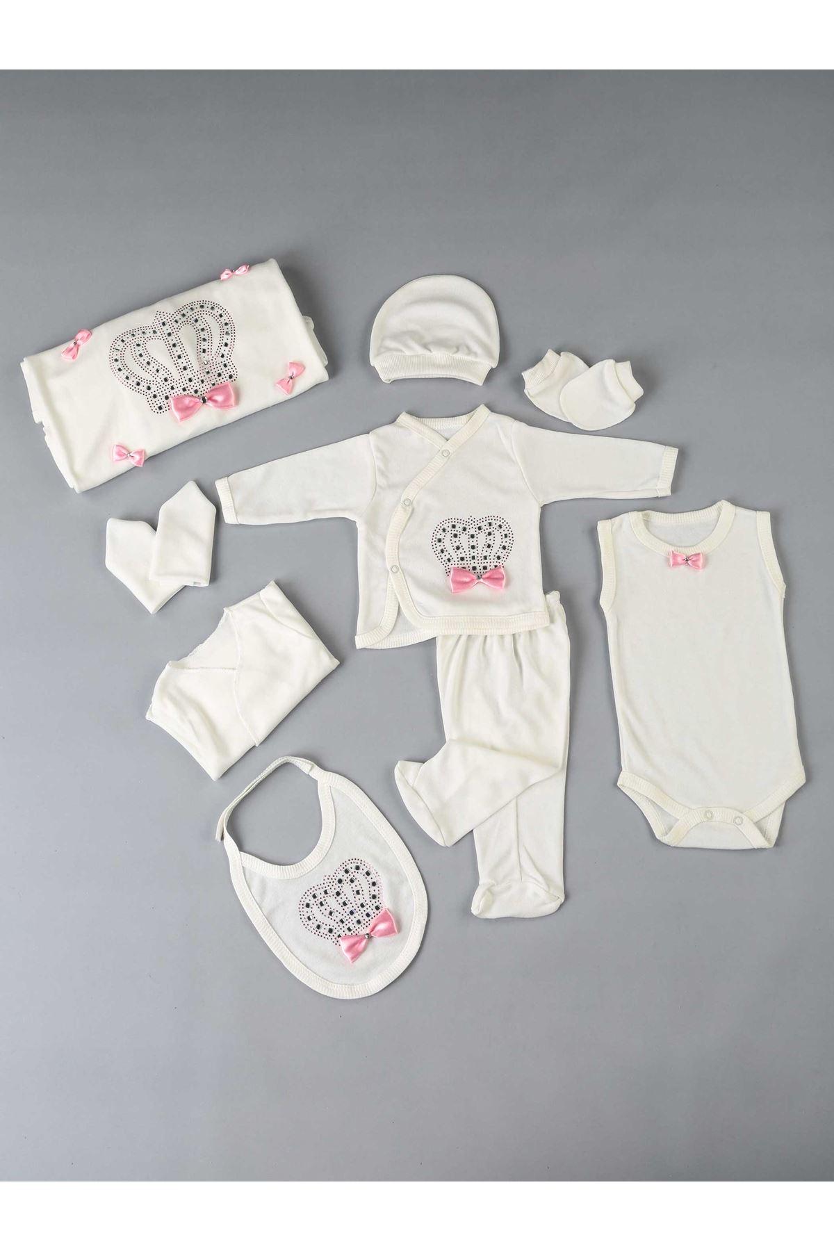 Pembe Kraliçe Taçlı Yenidoğan Kız Bebek 10 lu Hastane Çıkışı