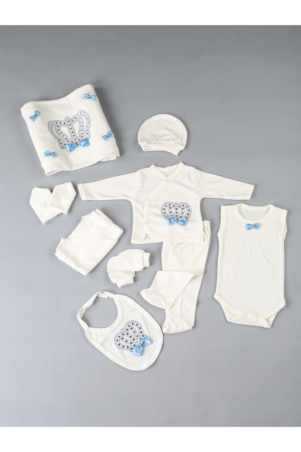 Mavi Kral Taçlı Yenidoğan Erkek Bebek 10 lu Hastane Çıkışı