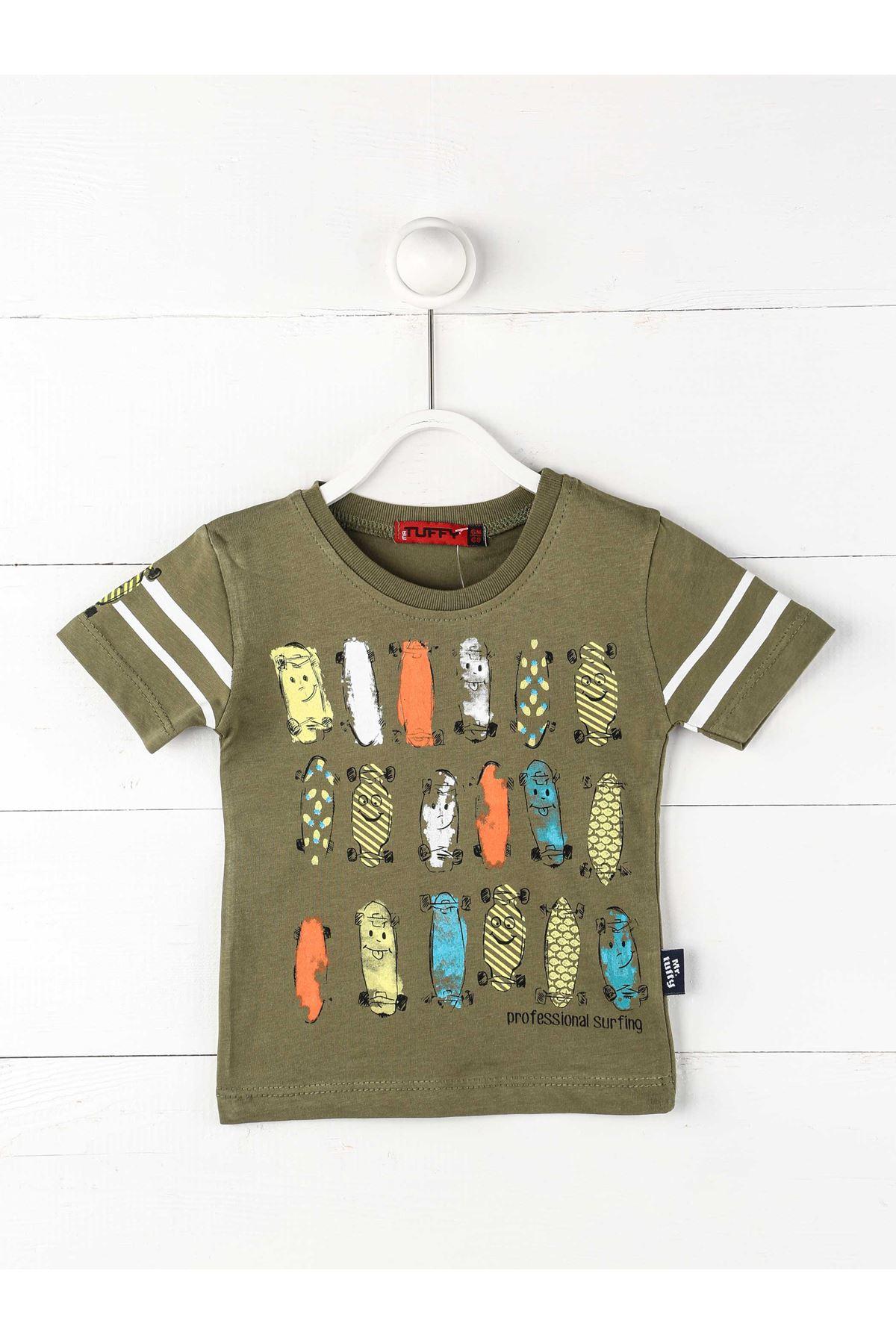 Haki Erkek Bebek Kısa Kollu Tişört