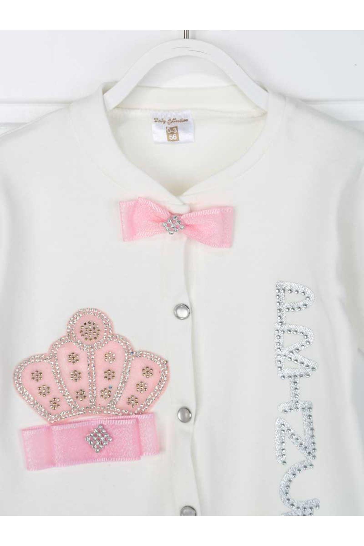 Pink Queen Crowned Princess Baby Girl 3 Piece Rompers