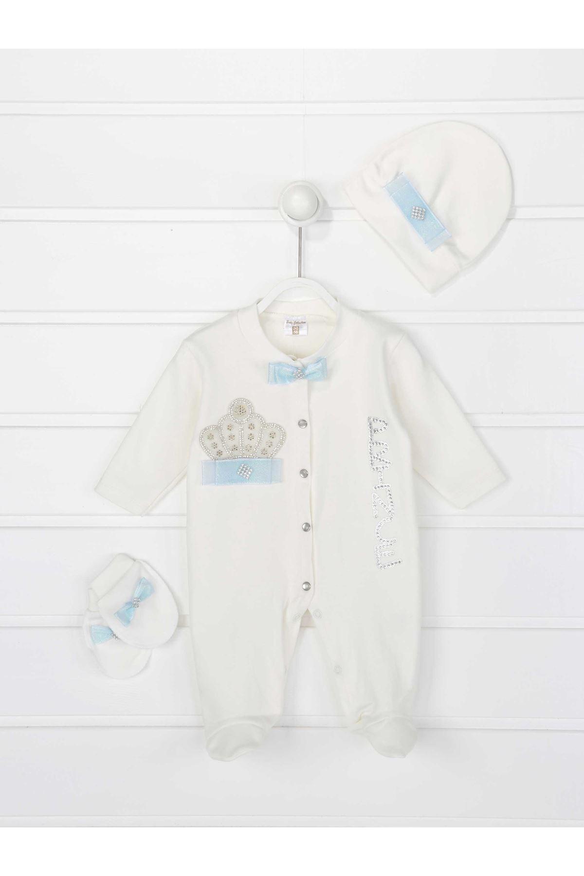 Mavi Kral Taçlı Prens  Erkek Bebek 3 lü Tulum