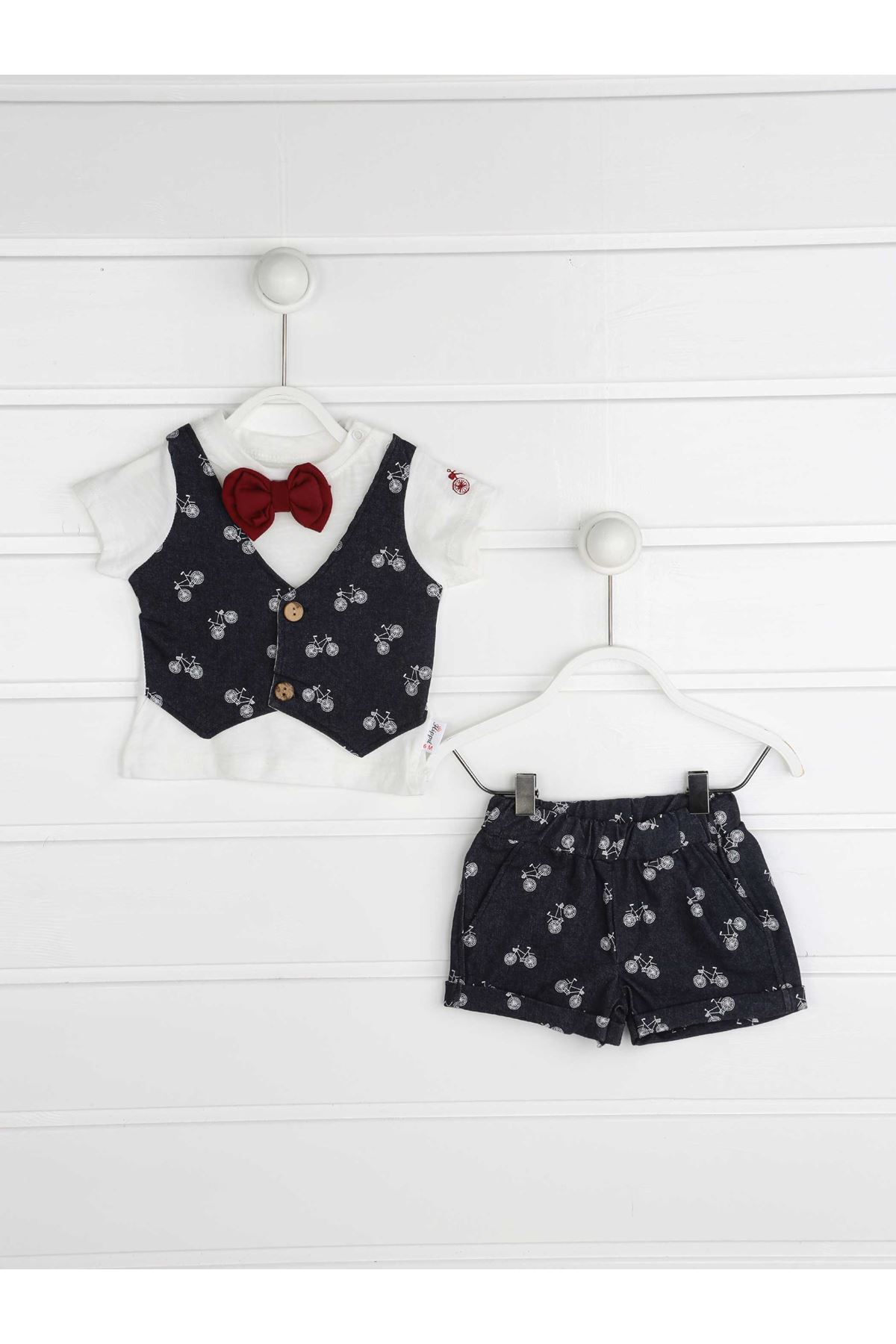 Navy blue Summer Male Baby Papyonlu 2 Piece Suit
