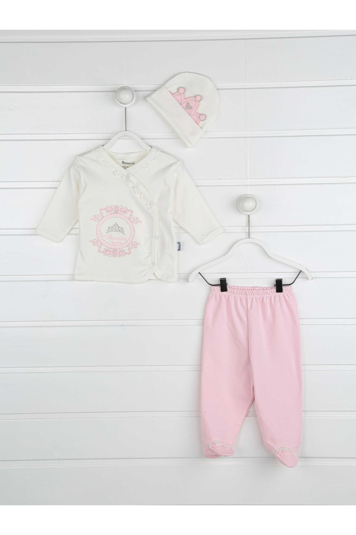 Pink princess baby girl 3-piece suit bottom clothing top hat cotton babies sets model