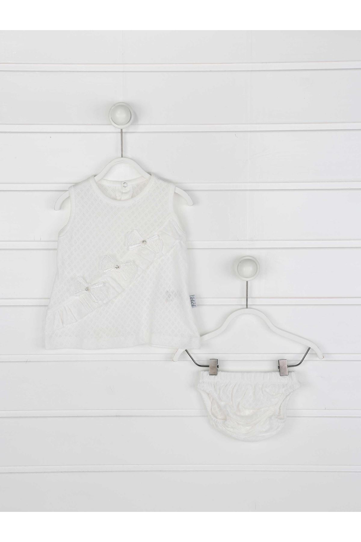White Baby Girl Daily 2 Piece Suit Set Cotton Daily Seasonal Casual Wear Girls Babies Suit Outfit Models Dress and panties
